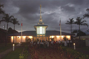 Renovated Papeete Tahiti Temple, lustrous against a darkening South Pacific sky, has opened its doors to the public prior to rededication. Originally dedicated in 1983, the building serves members in French Polynesia.