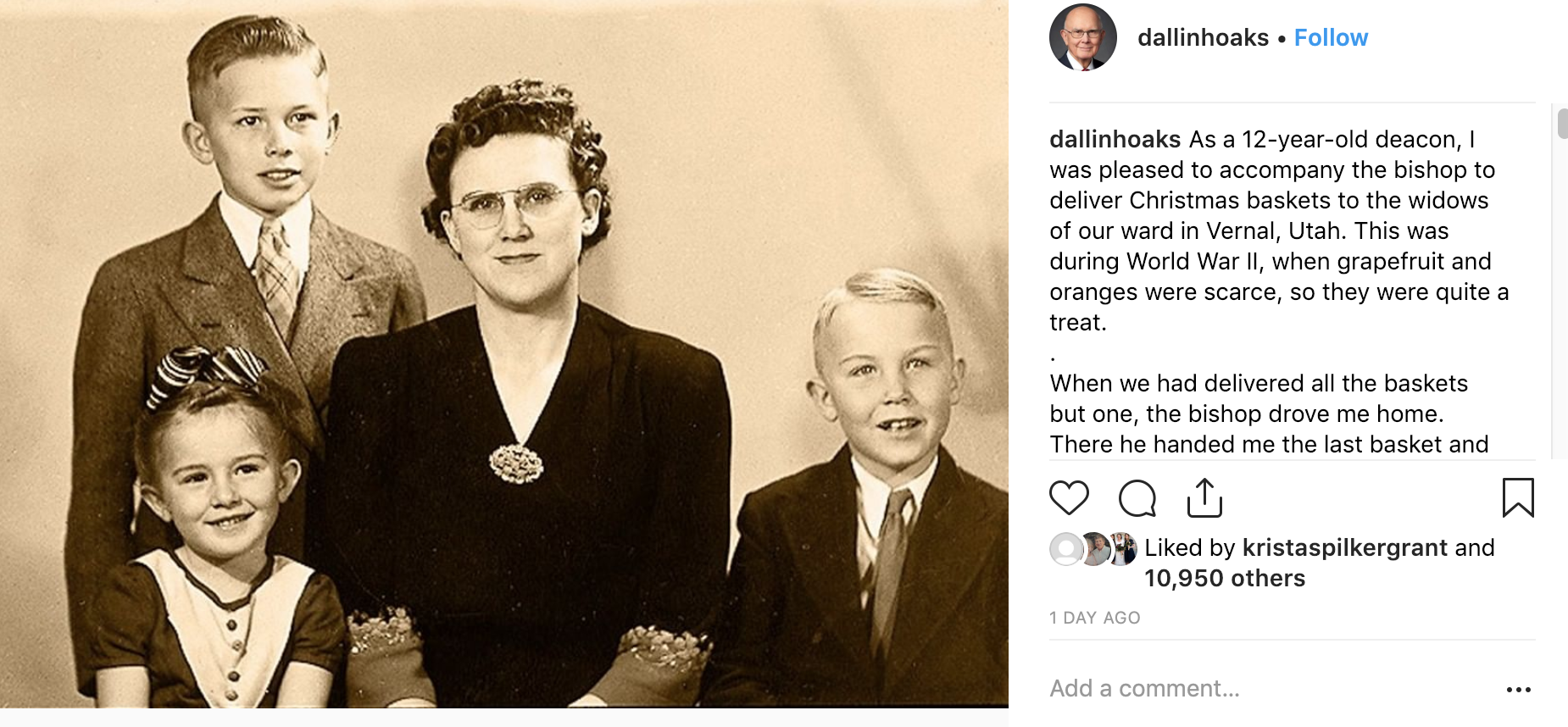 President Dallin H. Oaks shared a Christmas memory on Instagram of when he was a boy delivering Christmas baskets to widows and he didn't realize his own mother was a widow. In the post, he testified of Heavenly Father's plan of happiness and of eternal families.