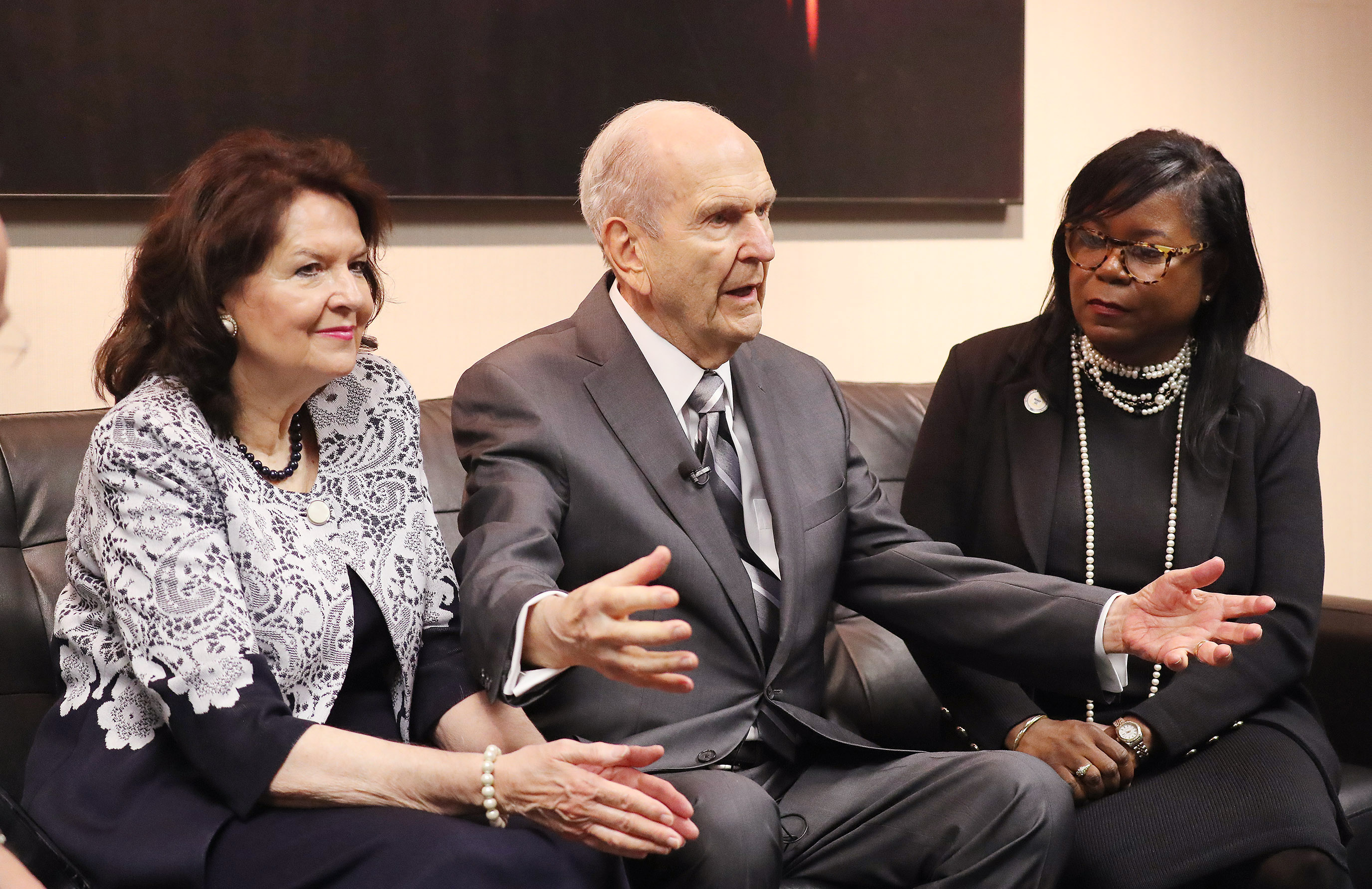 President Russell M. Nelson of The Church of Jesus Christ of Latter-day Saints tells a story of his flying experience in Alaska with his wife Sister Wendy Nelson and Reverend Theresa Deer at the 110th annual national convention for the National Association for the Advancement of Colored People in Detroit on Sunday, July 21, 2019.