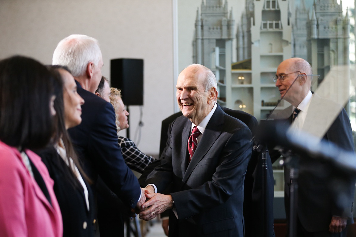 President Russell M. Nelson of The Church of Jesus Christ of Latter-day Saints arrives before speaking at a press conference in Salt Lake City on Friday, April 19, 2019.