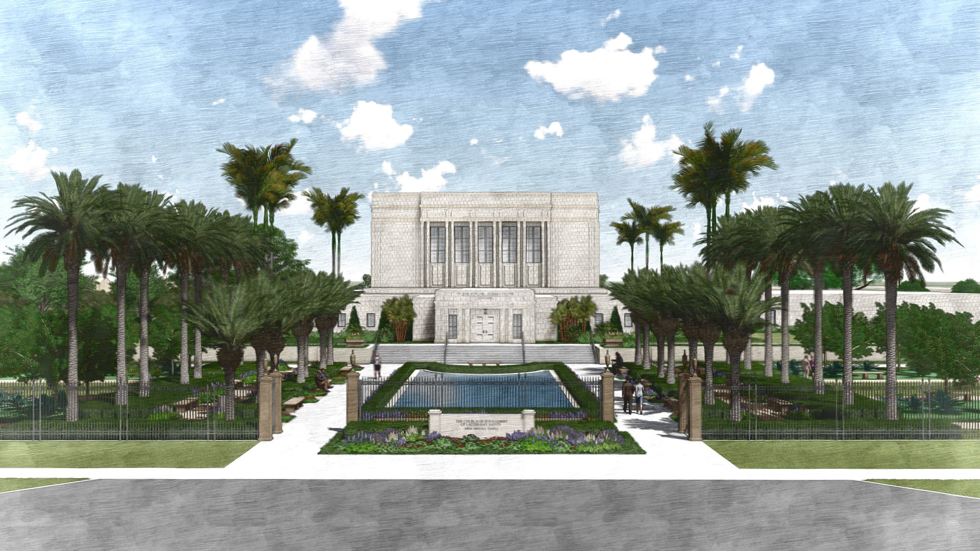 Rendering of the west entrance of the Mesa Arizona Temple.