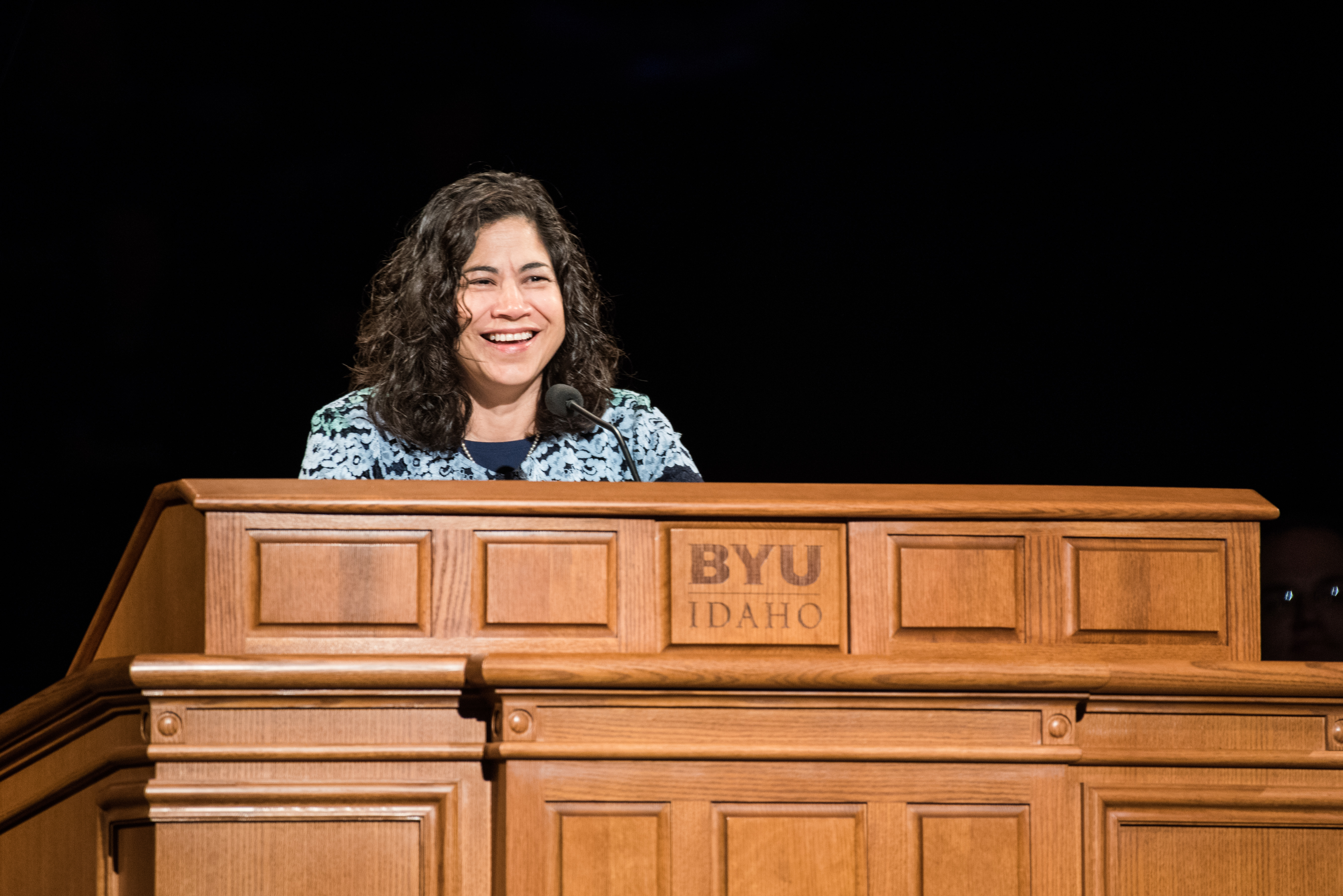 Sister Reyna I. Aburto, second counselor in the Relief Society general presidency, speaks during a BYU-Idaho devotional in the BYU-Idaho Center on June 4, 2019.