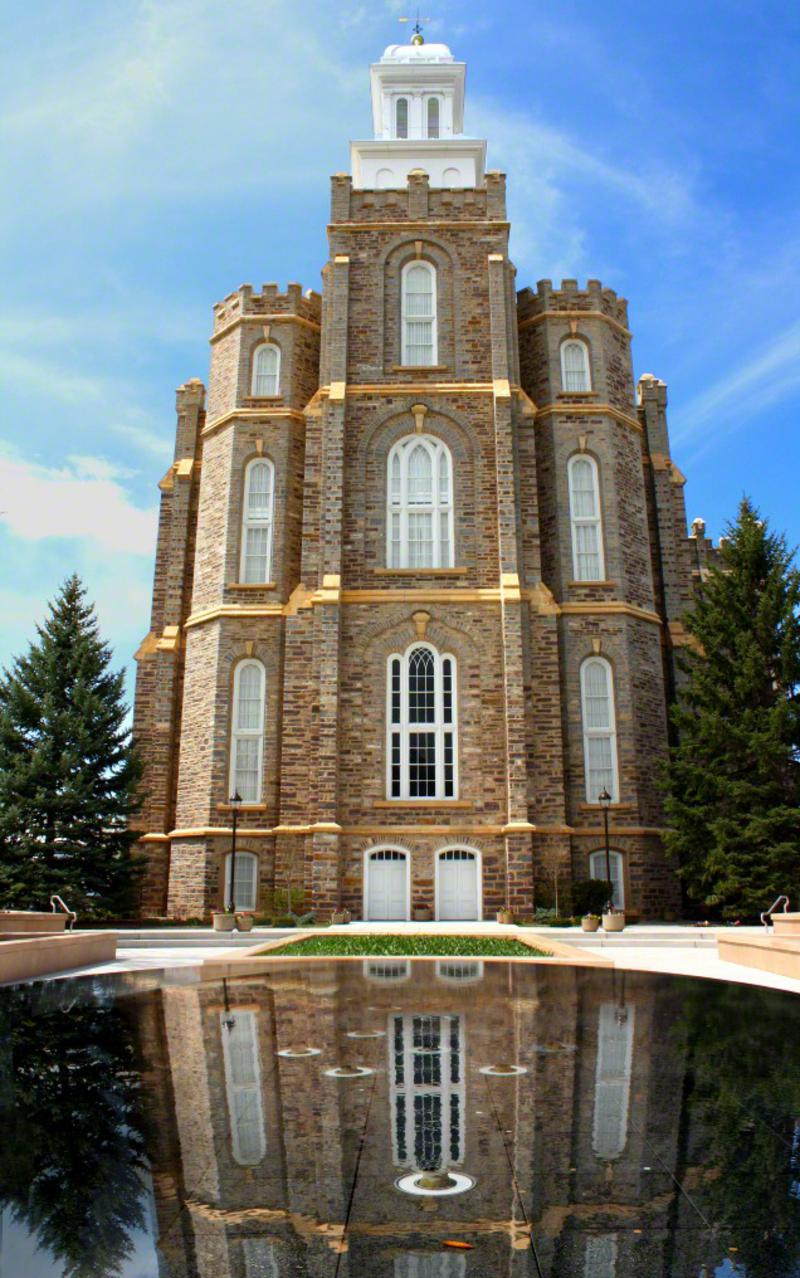 The Logan Utah Temple's reflection pool was added in 2009.