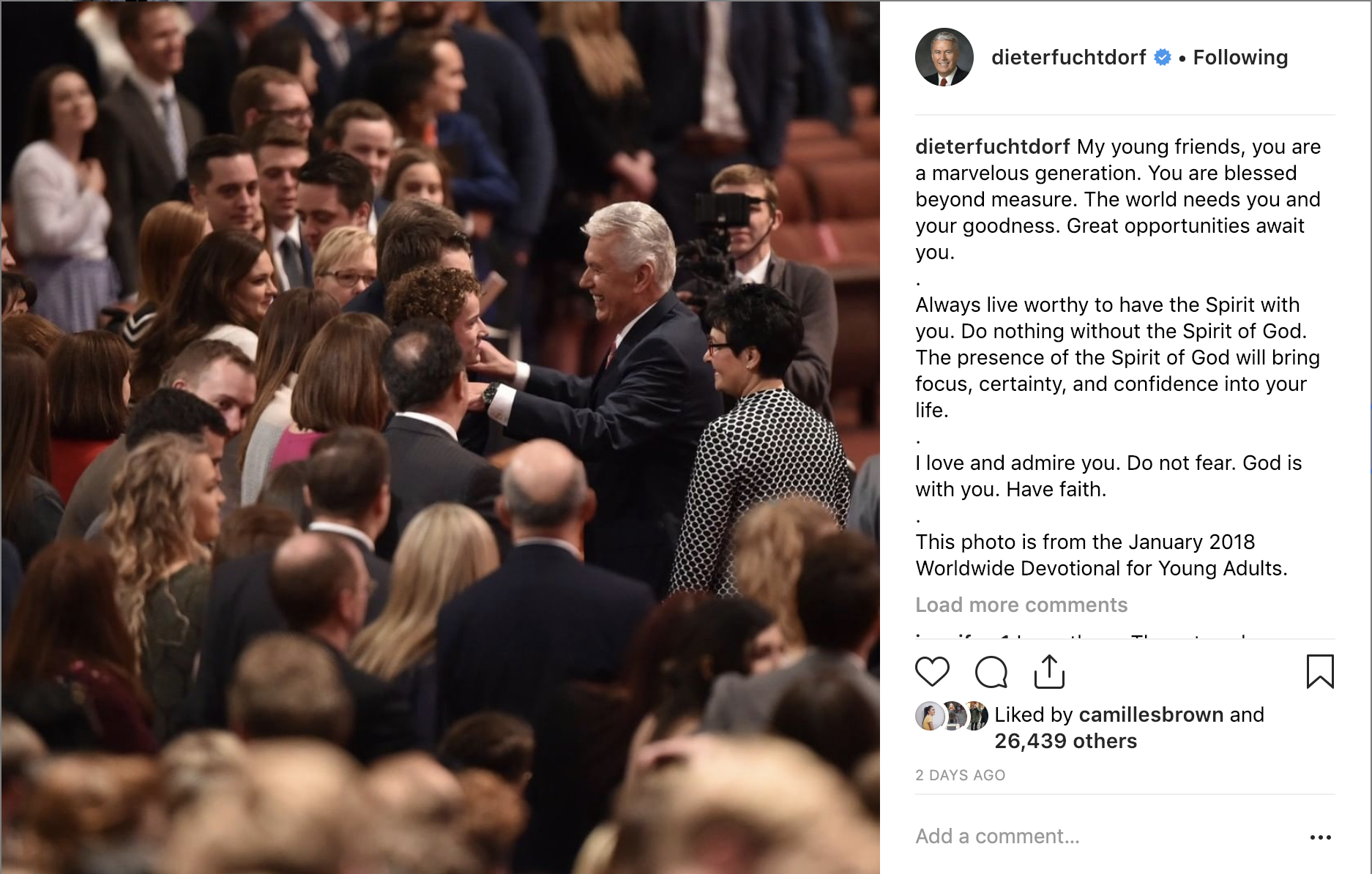 Elder Dieter F. Uchtdorf reminded young adults that the world needs their goodness.