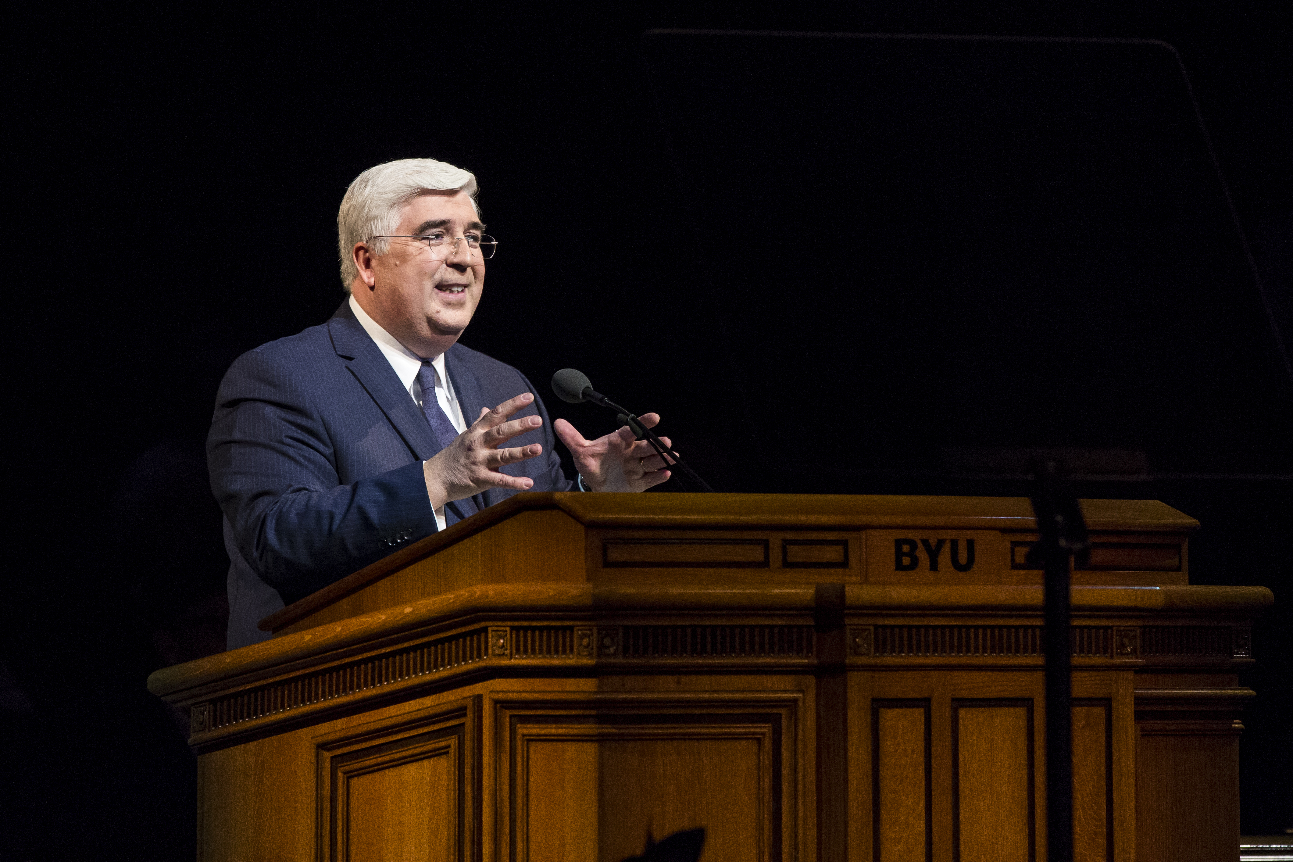 Elder José A. Teixeira, a member of the Presidency of the Seventy, delivers the devotional address in the Marriott Center at Brigham Young University on Tuesday, Nov. 6, 2018.
