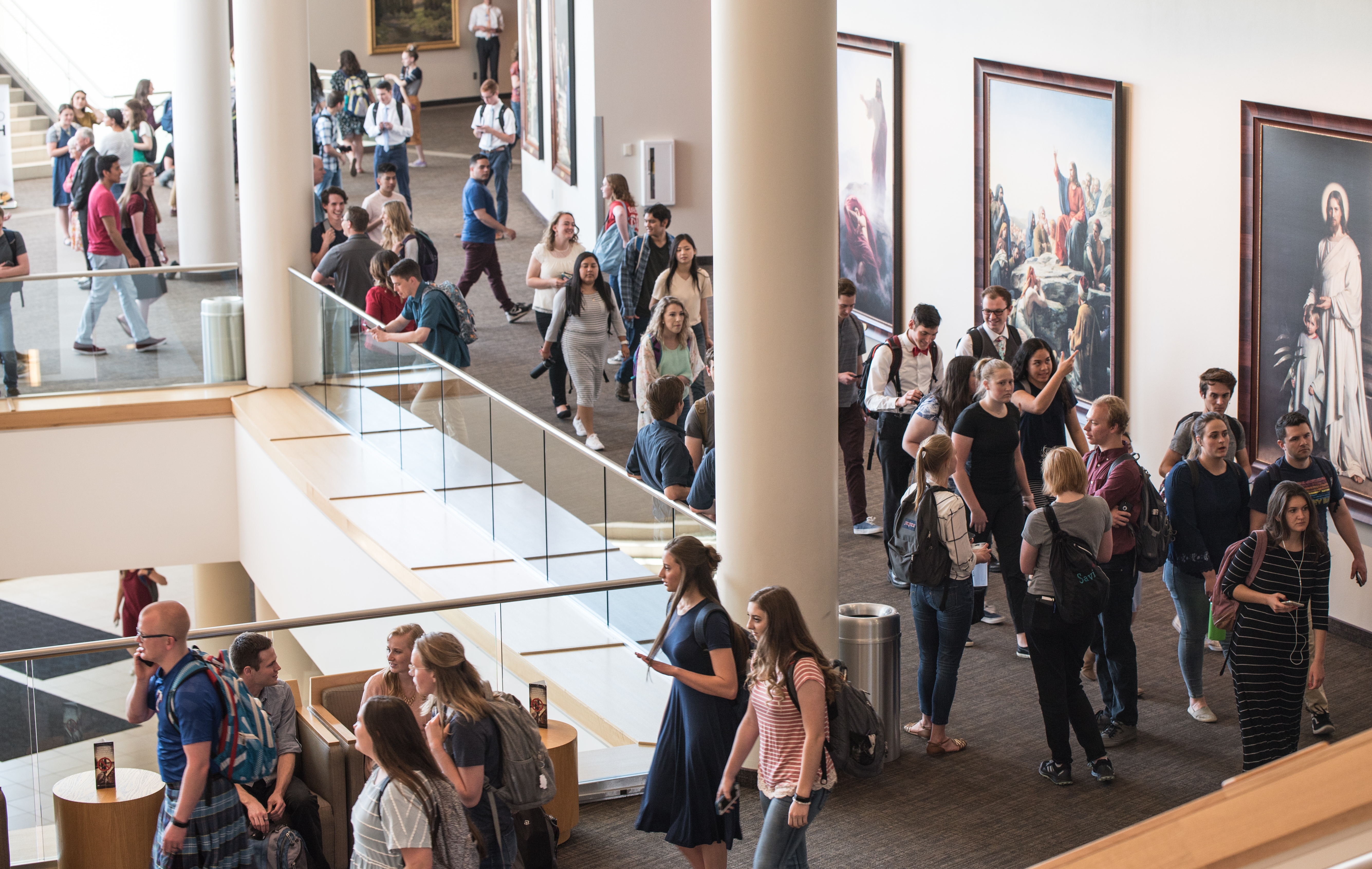 BYU-Idaho students enter the BYU-Idaho Center on June 4, 2019, for a weekly devotional.