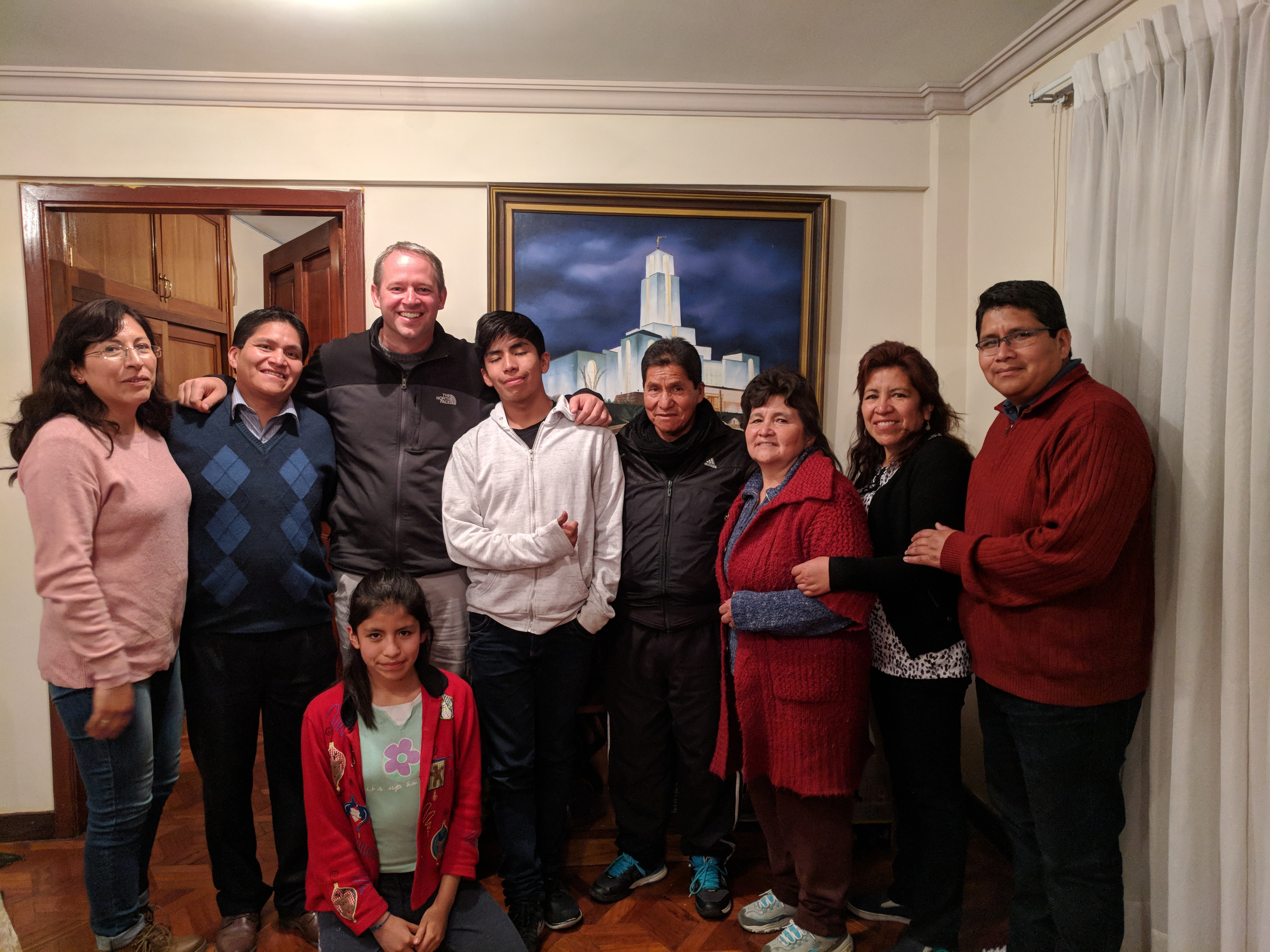 David McConkie (center left) with the Vasquez family in La Paz, Bolivia in October. McConkie was mission companions with William Vasquez, far right, 20 years ago.