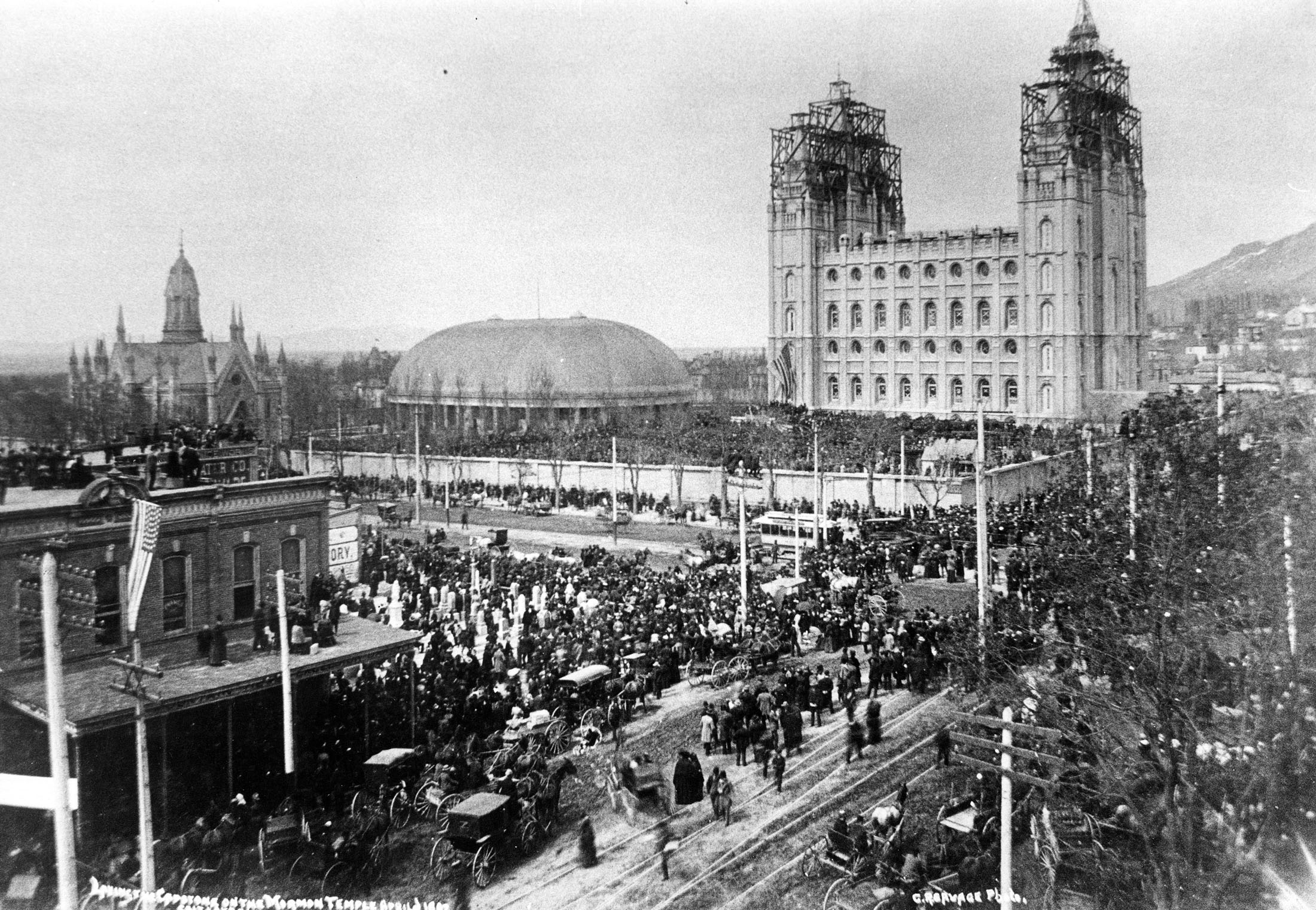 April of 1892 when the capstone of the Salt Lake Temple was set. Credit: Charles R. Savage