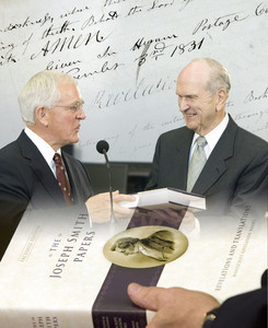 Elder Marlin K. Jensen of the Seventy presents newest volume in the Joseph Smith Papers Project to Elder Russell M. Nelson of the Quorum of the Twelve. This second book contains photo images of each page of the earliest revelation manuscripts comprising most of what is today the Doctrine and Covenants.