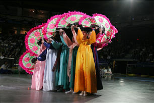 """In the youth cultural program, performers portray """"people of the world"""" who settled and enriched Canada. The production highlighted the land, history and people of the Pacific Northwest."""