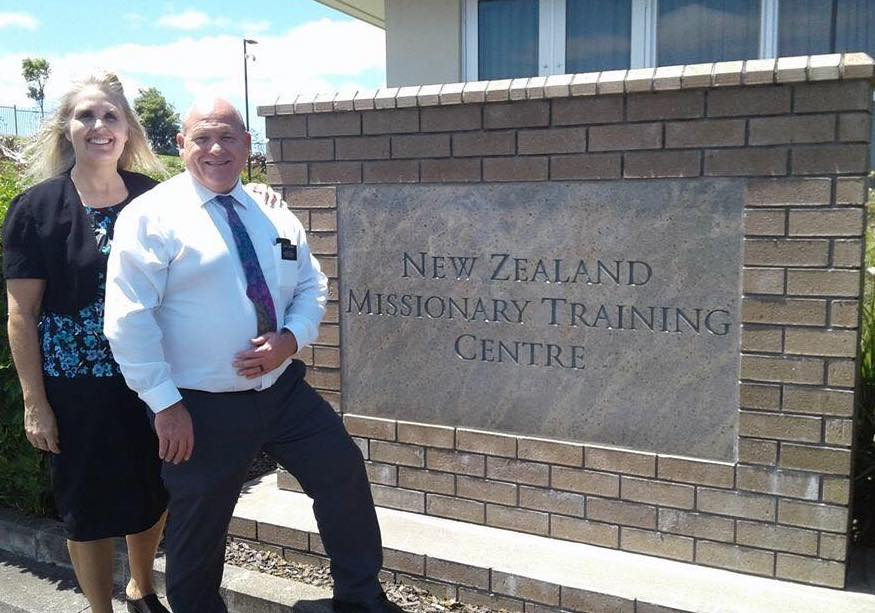 Sister Lori Stewart and her husband, Elder Laddie Stewart, outside the New Zealand Missionary Training Center prior to reporting to the Marshall Islands/Kiribati Mission. The Stewart's mission president, President John Larkin, was once Elder Stewart's investigator in Australia.