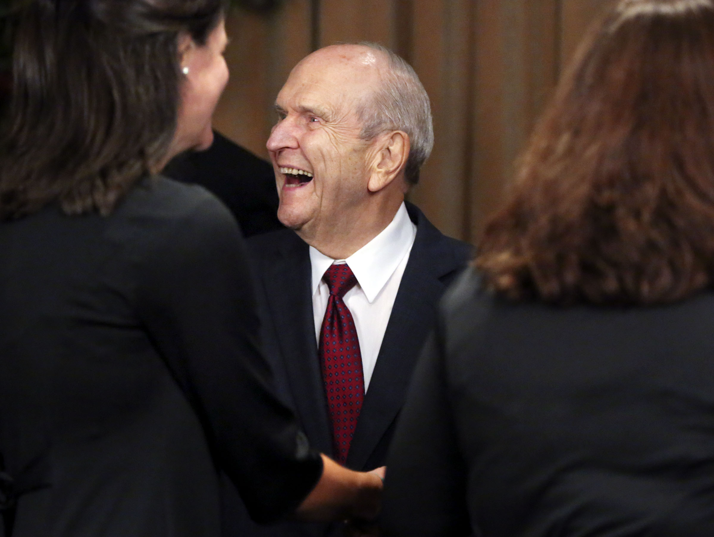 President Russell M. Nelson of The Church of Jesus Christ of Latter-day Saints meets with civic and religious leaders before speaking at Safeco Field in Seattle, Wash., on Saturday, Sept. 15, 2018.