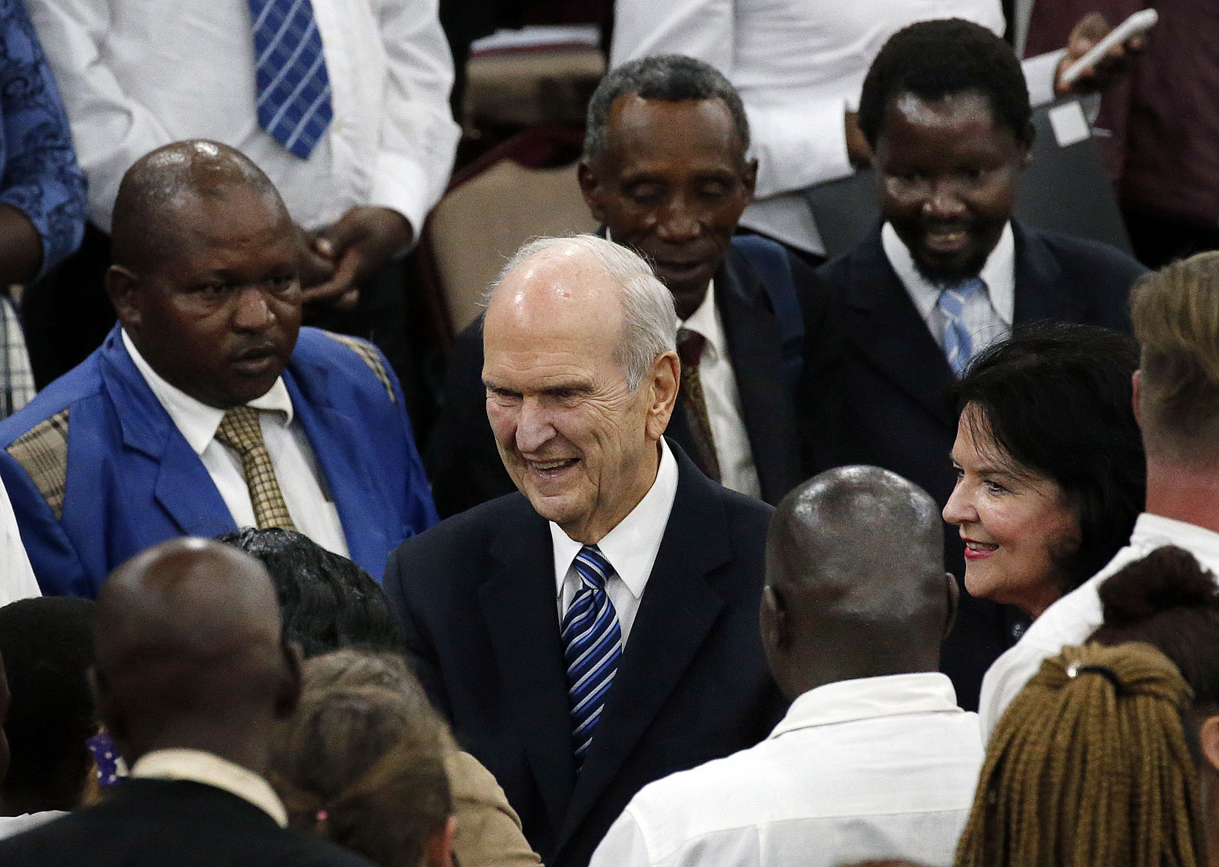 President Russell M. Nelson and Sister Wendy Watson Nelson greet some of those in attendance following a special devotional in Nairobi, Kenya, on Monday, April 16, 2018.