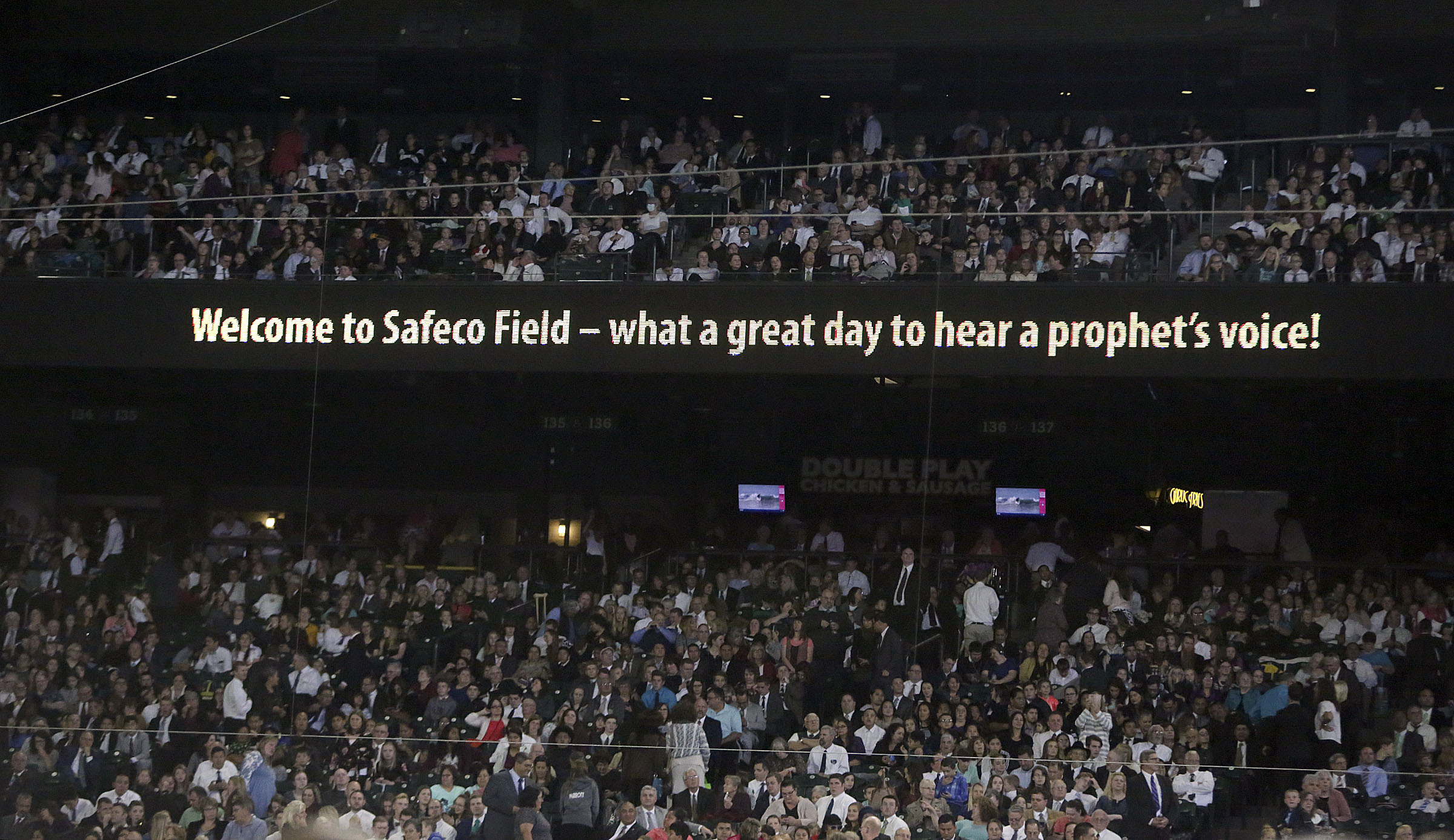 People wait for President Russell M. Nelson of The Church of Jesus Christ of Latter-day Saints to speak at Safeco Field in Seattle, Wash., on Saturday, Sept. 15, 2018.