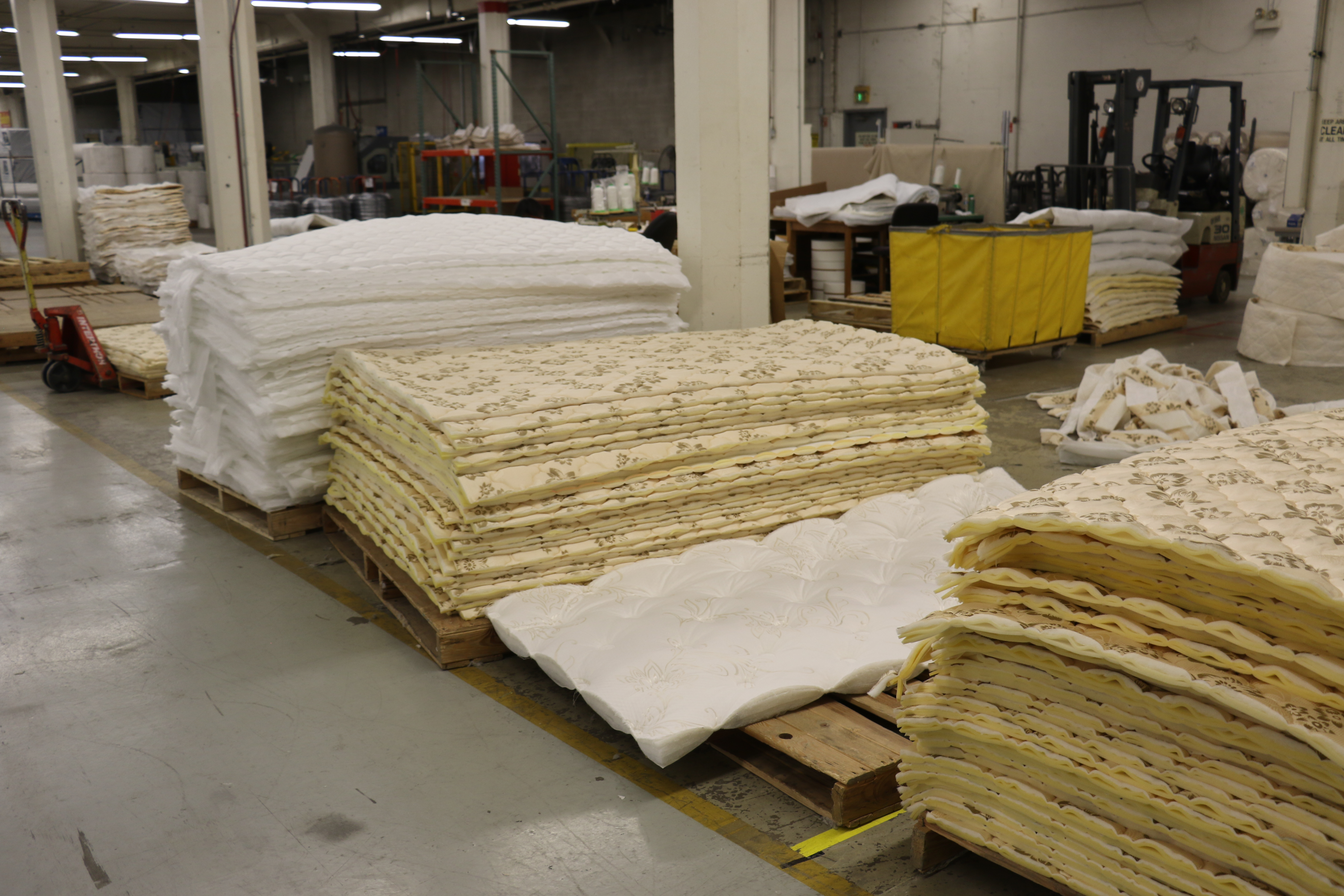 Different quilting options for mattresses made in the Deseret Manufacturing facility.