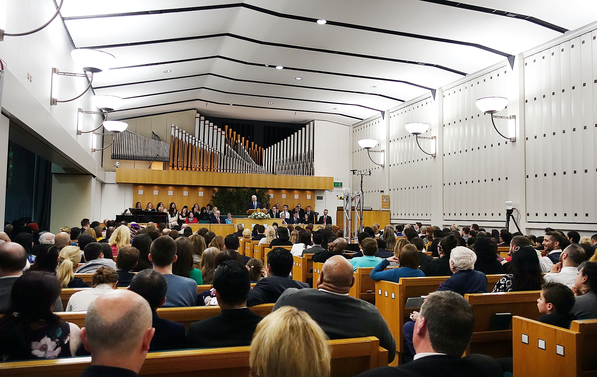 President Russell M. Nelson speaks during a meeting at the Hyde Park Chapel in London on Thursday, April 12, 2018.