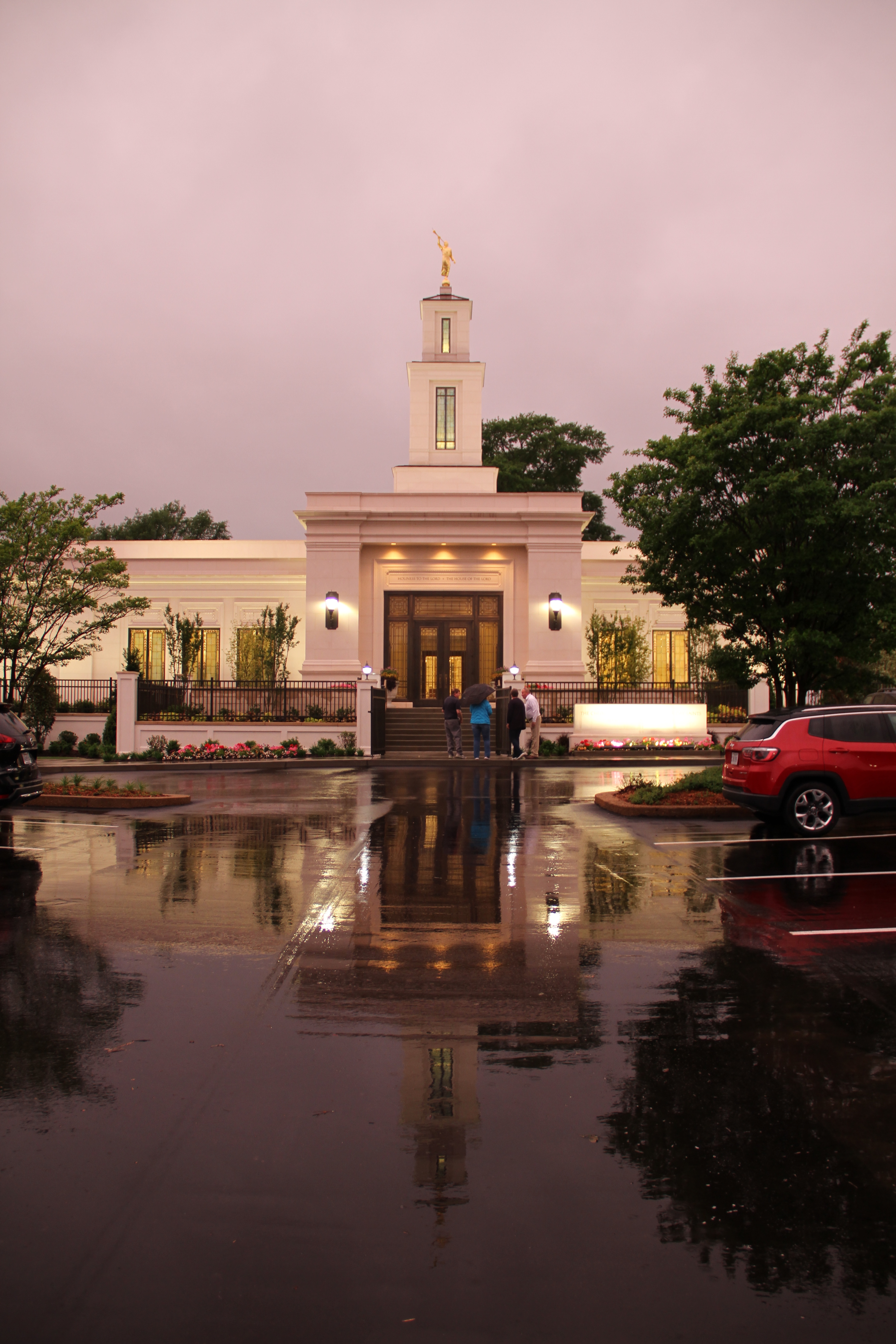 The Memphis Tennessee Temple under rainy skies on May 4, 2019.