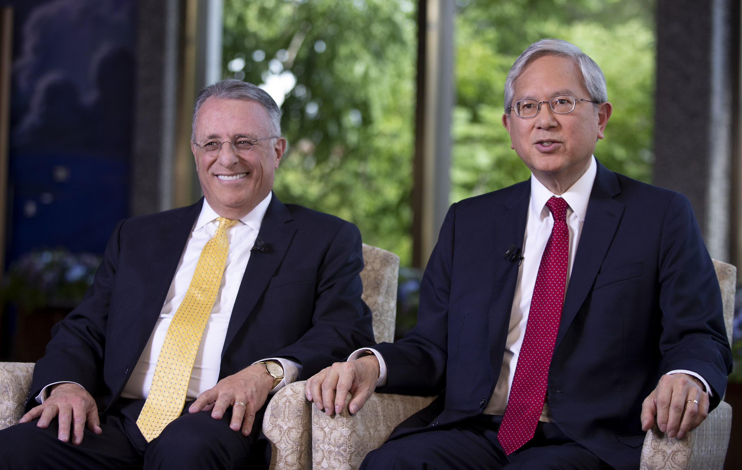 Elder Ulisses Soares and Elder Gerrit W. Gong answer questions during an interview in the North Visitors Center on Temple Square in Salt Lake City on Thursday, June 28, 2018.