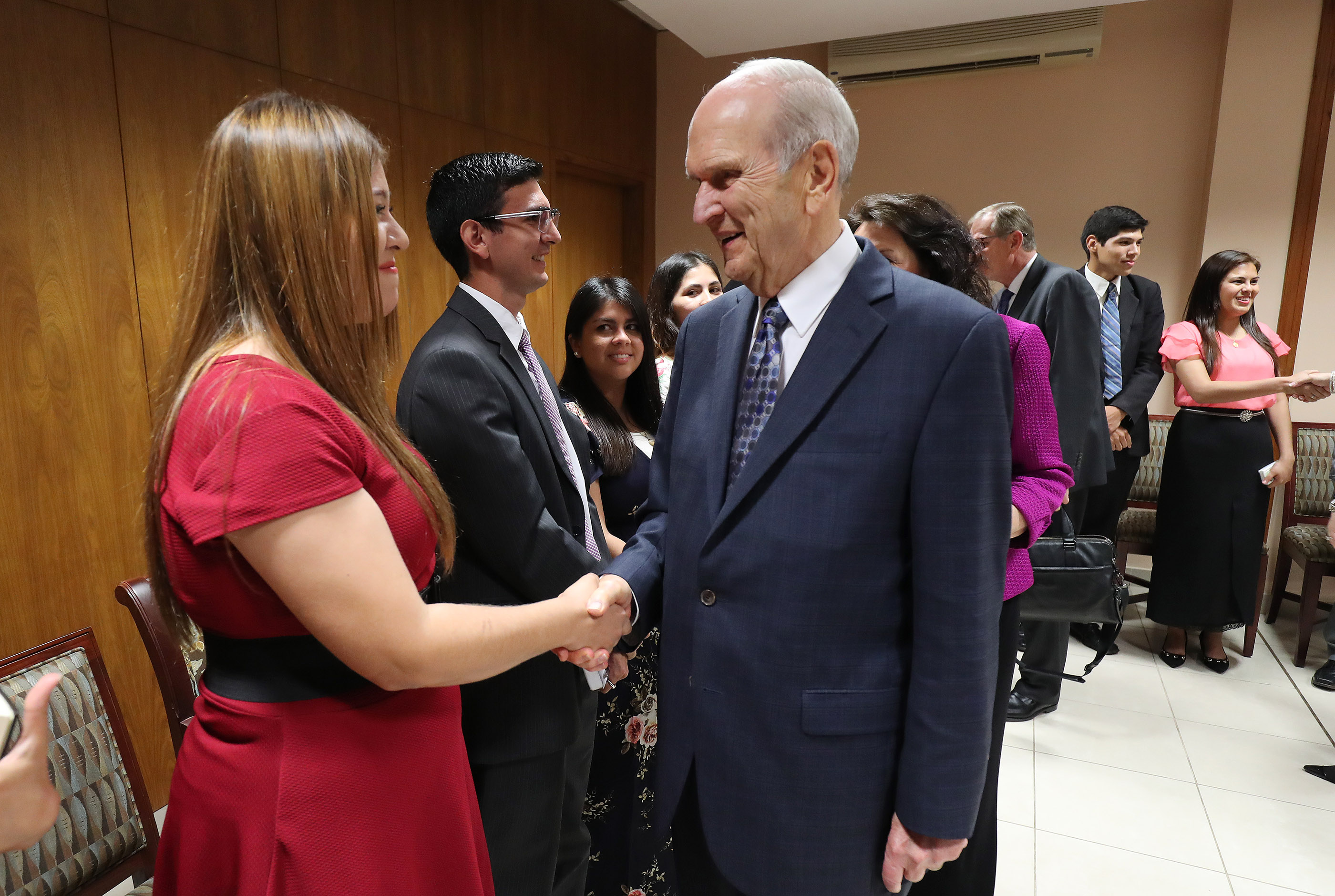 President Russell M. Nelson of The Church of Jesus Christ of Latter-day Saints talks with Fernanda Campos prior to a devotional in Asuncion, Paraguay, on Monday, Oct. 22, 2018.
