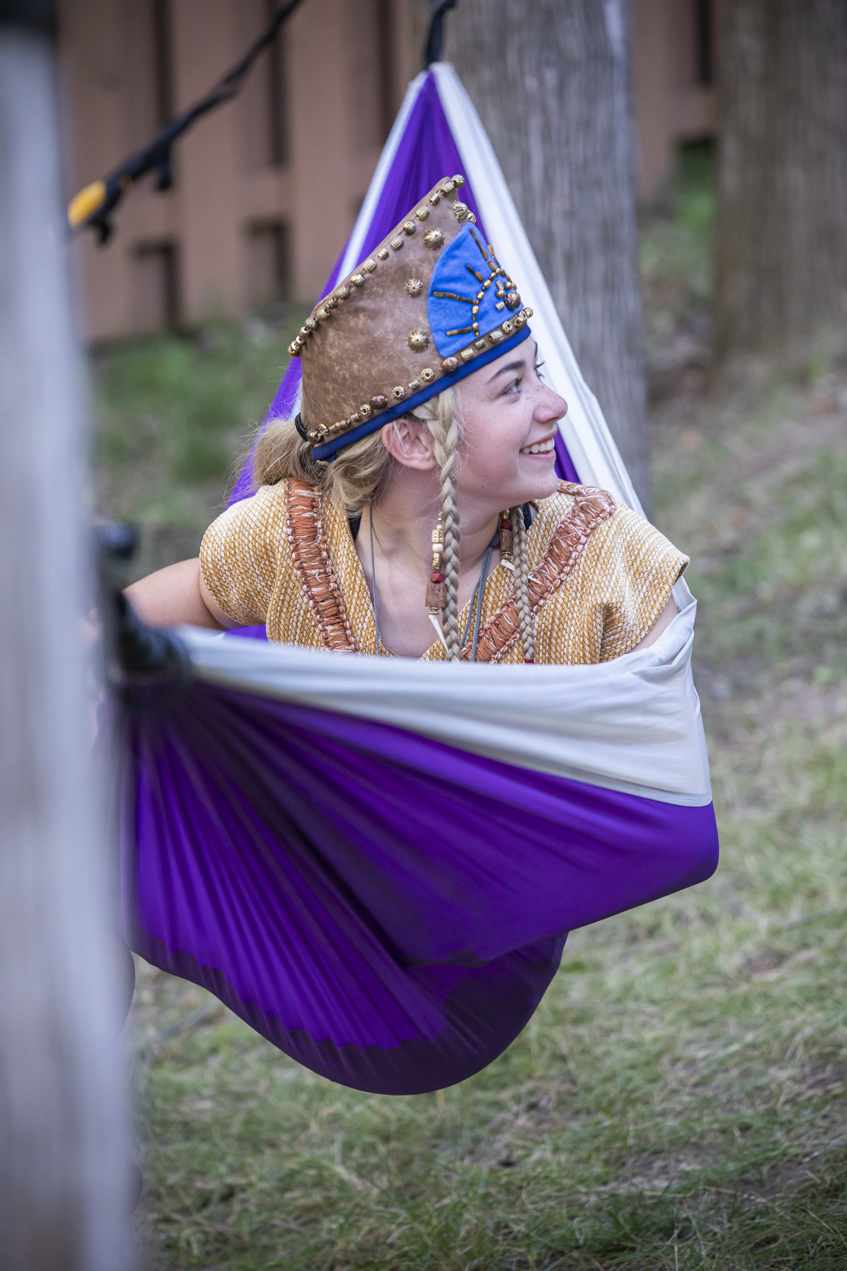 A cast member takes a break prior to a performance of the 2019 Hill Cumorah Pageant which ran July 11-13 and 16-20 on the hillside next to the Hill Cumorah Visitors' Center in Manchester, New York.
