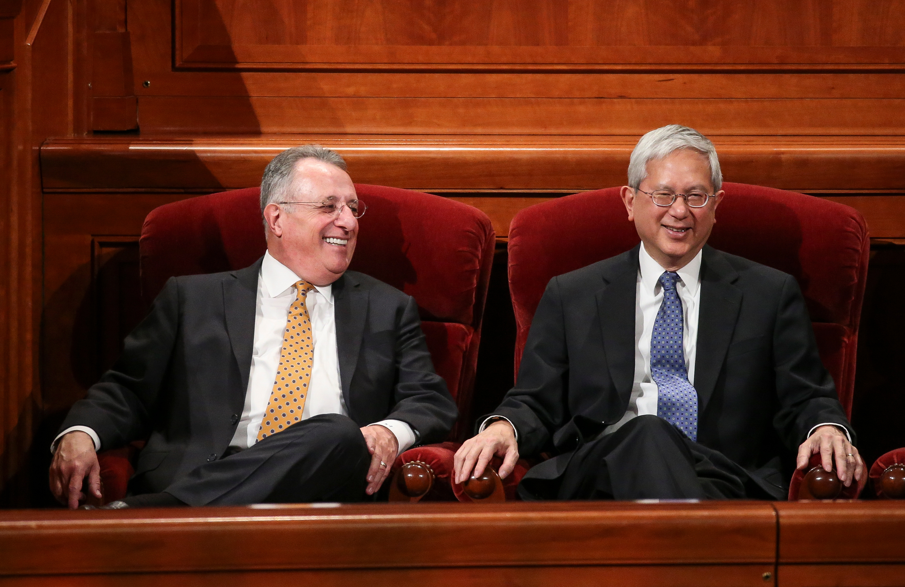 Elder Ulisses Soares and Elder Gerrit W. Gong of the Quorum of the Twelve Apostles chat before the start of the Saturday afternoon session of the 188th Annual General Conference of the LDS Church at the Conference Center in Salt Lake City on March 31, 2018.
