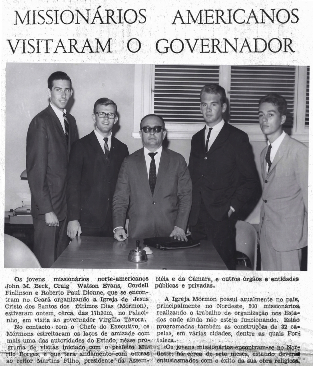 A newspaper clipping shows Virgilio Tavora, center, the governor of the state of Ceará, meeting with the four missionaries serving in Fortaleza, Brazil in 1966 — from left, Elder Craig Evans, Elder John Beck, Elder Cordell Finlinson and Elder Robert Dionne.