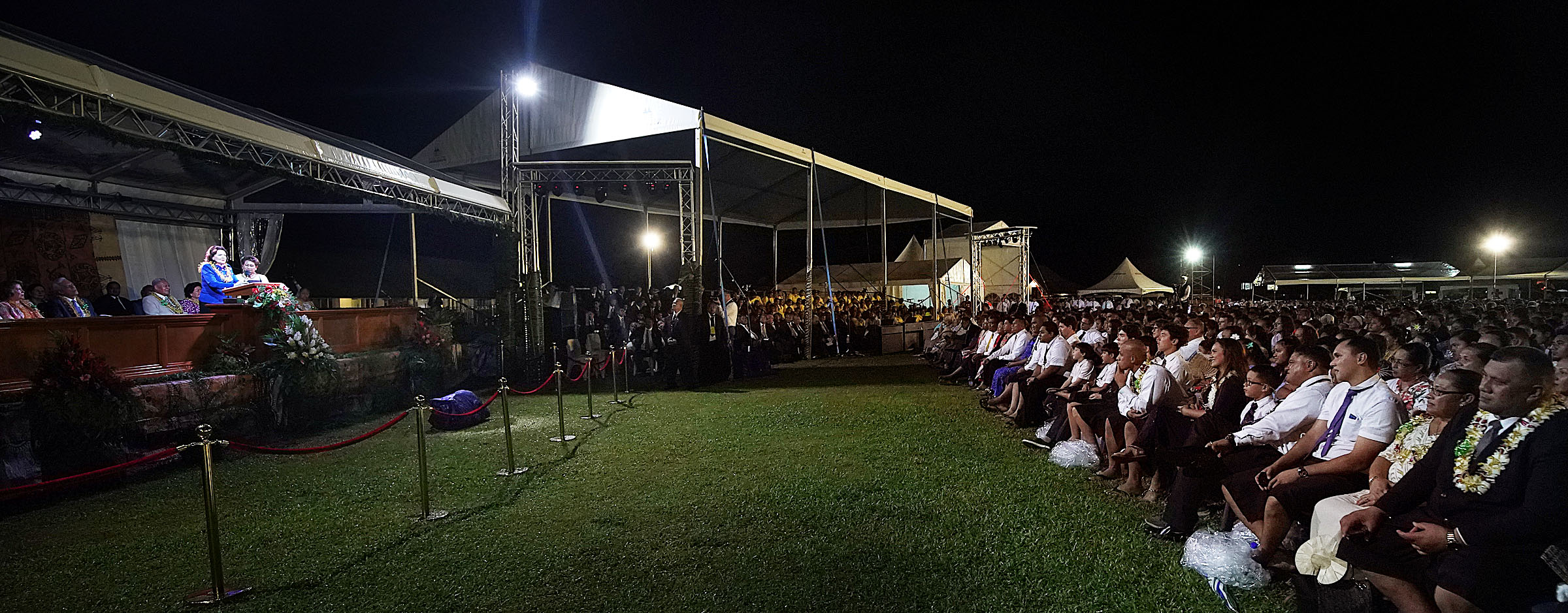 Sister Wendy Nelson, wife of President Russell M. Nelson of The Church of Jesus Christ of Latter-day Saints, speaks during a devotional in Apia, Samoa, on Saturday, May 18, 2019.