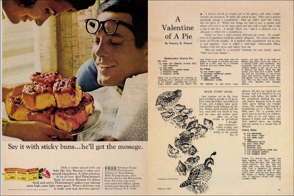 "A screenshot of the February 1967 issue of The Improvement Era from archive.org, featuring ""A Valentine of A Pie"" by Florence B. Pinnock."