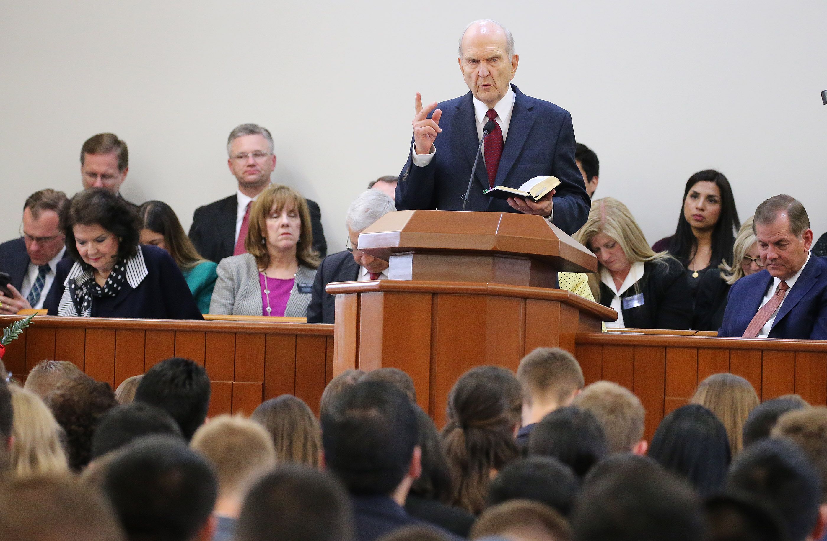 President Russell M. Nelson of The Church of Jesus Christ of Latter-day Saints speaks during a missionary meeting in Lima, Peru, on Oct. 20, 2018.