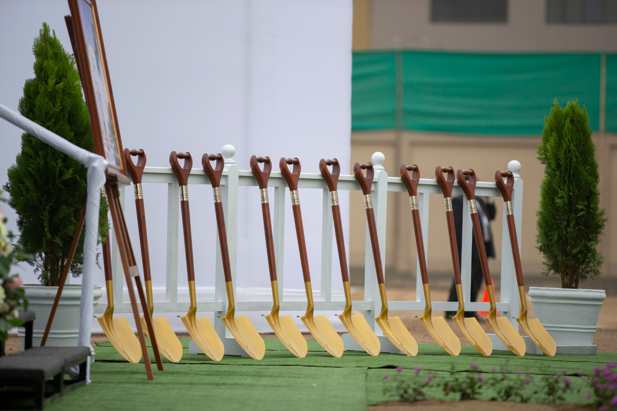 Shovels are lined up for the groundbreaking ceremony of the Lima Peru Los Olivos Temple on Saturday, June 8, 2019.
