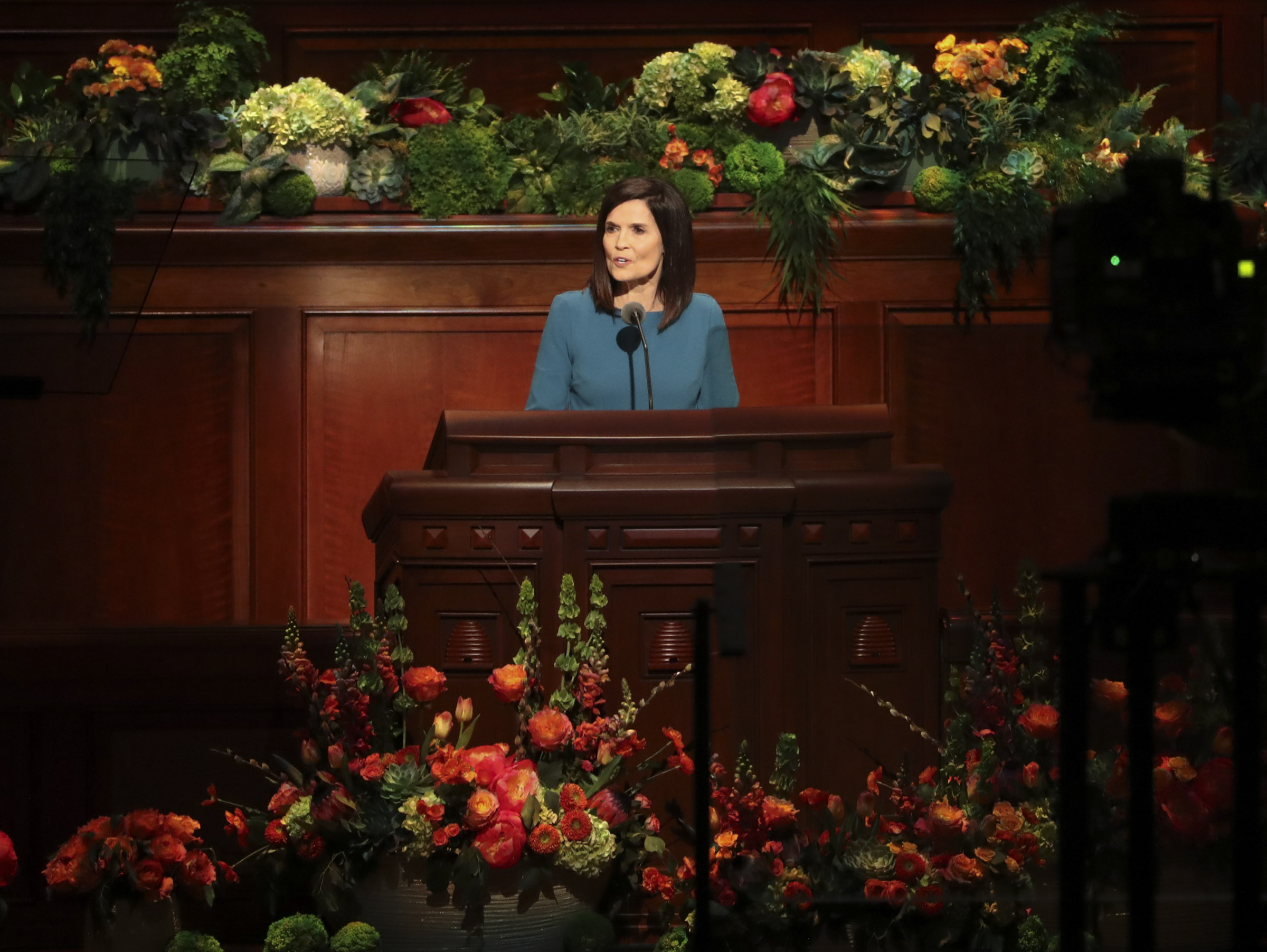 Sister Becky Craven, second counselor in the Young Women general presidency, speaks in the Conference Center in Salt Lake City during the morning session of the 189th Annual General Conference of The Church of Jesus Christ of Latter-day Saints on Saturday, April 6, 2019.