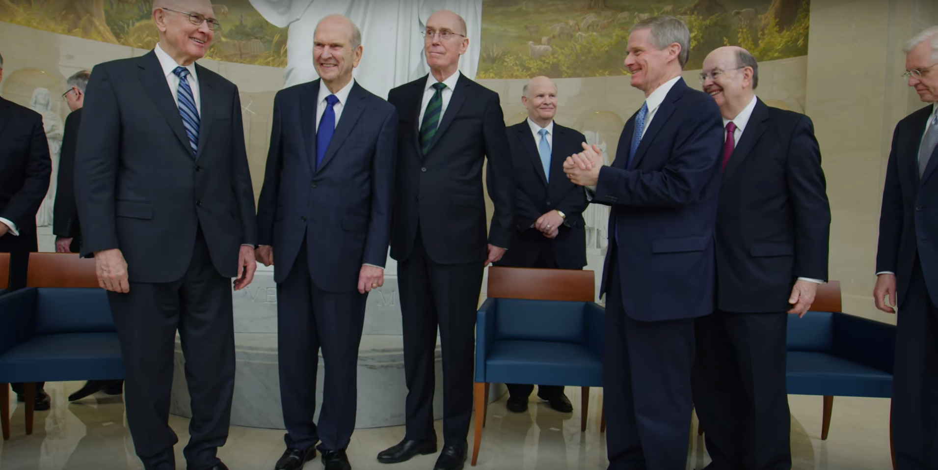 The First Presidency and members of the Quorum of the Twelve Apostles in the Rome Italy Temple Visitors' Center.