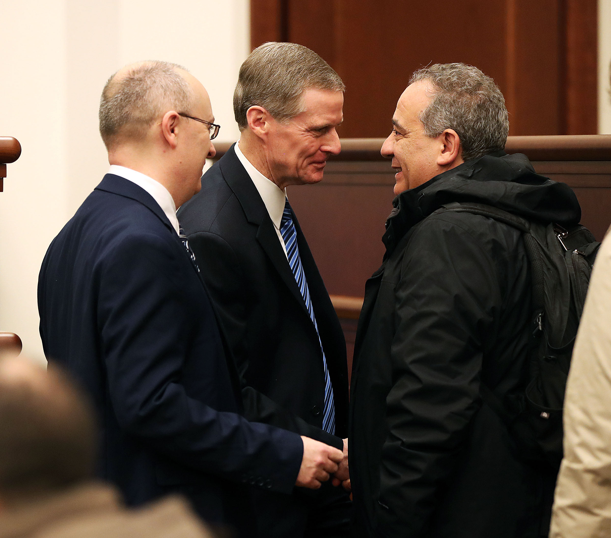 Elder Alessandro Dini-Ciacci, Area Seventy, left, and Elder David A. Bednar of the Quorum of the Twelve Apostles of The Church of Jesus Christ of Latter-day Saints greet President Giovanni Caudo, president of the Third Municipality of Rome, before a tour of the Rome Italy Temple on Monday, Jan. 14, 2019.