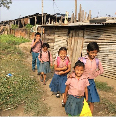 Students in Nepal are required to wear uniforms, even to the public schools.