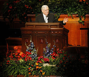 Elder M. Russell Ballard of the Quorum of the Twelve speaks about the purpose of the reorganization of the singles stakes to a group of nearly 5,000 LDS young single adults at a meeting on April 26 in the Conference Center.