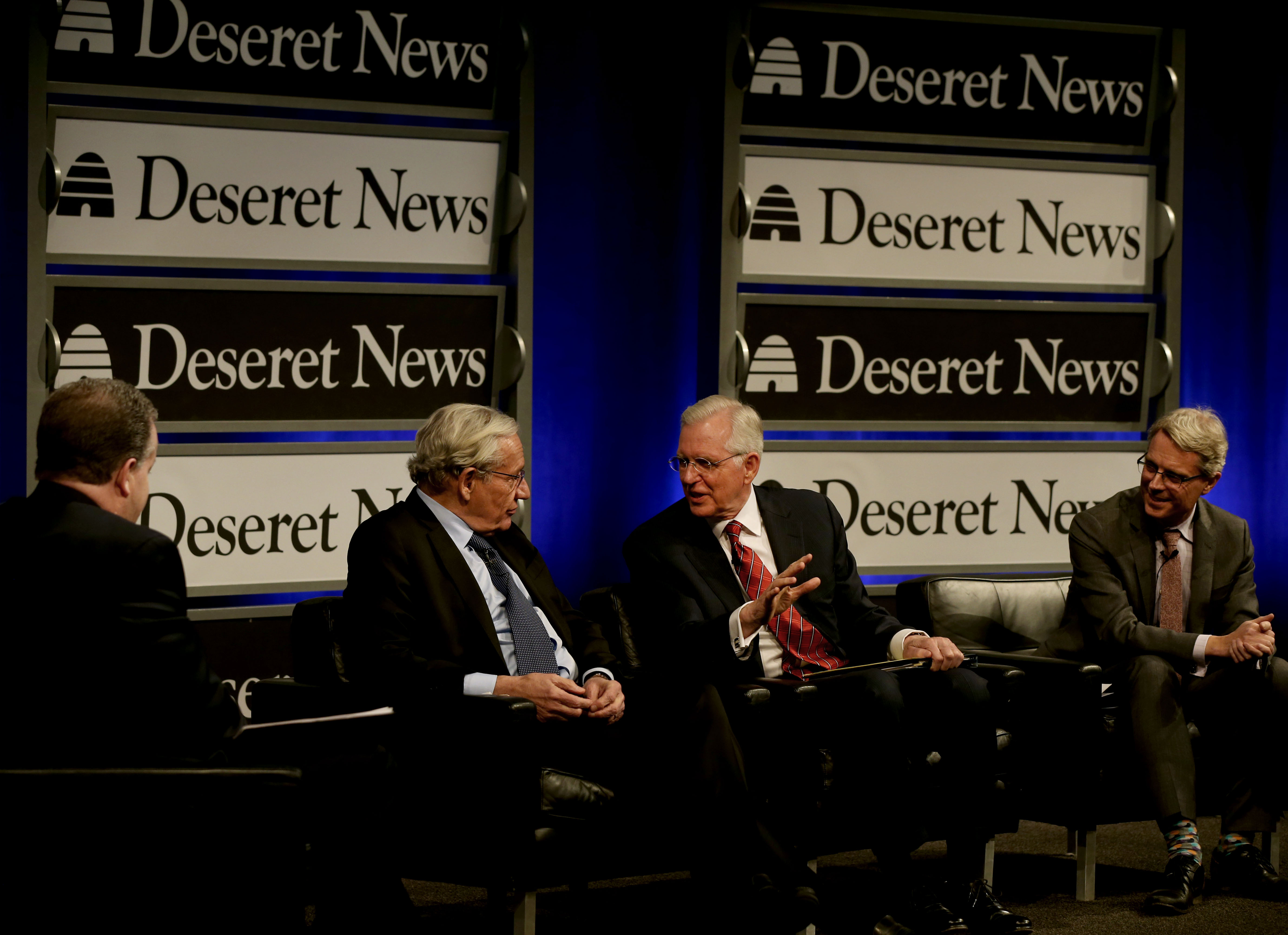 "Boyd Matheson, opinion editor of the Deseret News, left, Bob Woodward, Washington Post reporter who broke the Watergate story in 1973 and current associate editor at the Post, Elder D. Todd Christofferson, a member of the Quorum of the Twelve Apostles for The Church of Jesus Christ of Latter-day Saints, and Michael Dimock, president of the Pew Research Center, speak during at ""Integrity and Trust: Lessons from Watergate and Today"" at the Newseum in Washington, D.C. on Monday, Jan. 14, 2019."
