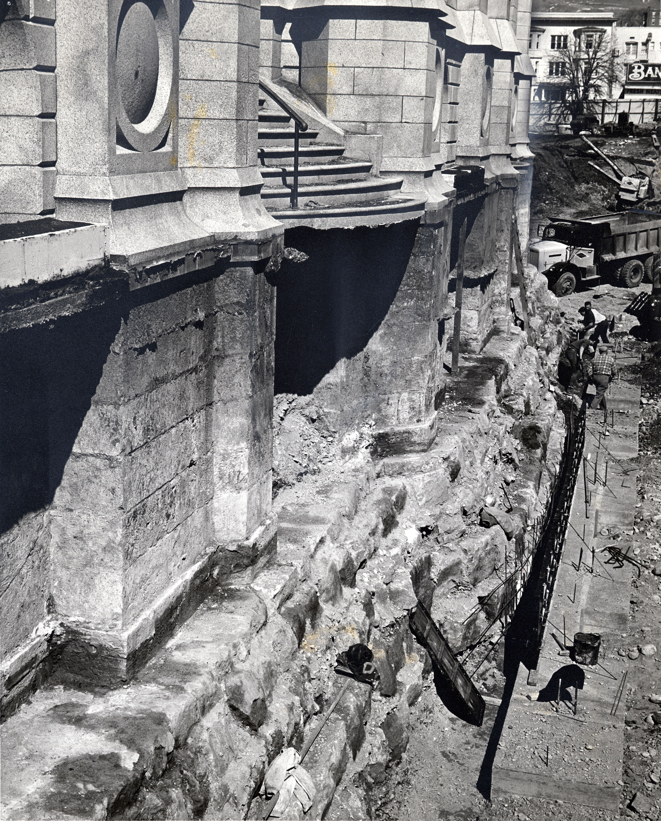 The depth and strength of the Salt Lake Temple foundation, 30 feet deep, is exposed by excavators in March 30, 1963.