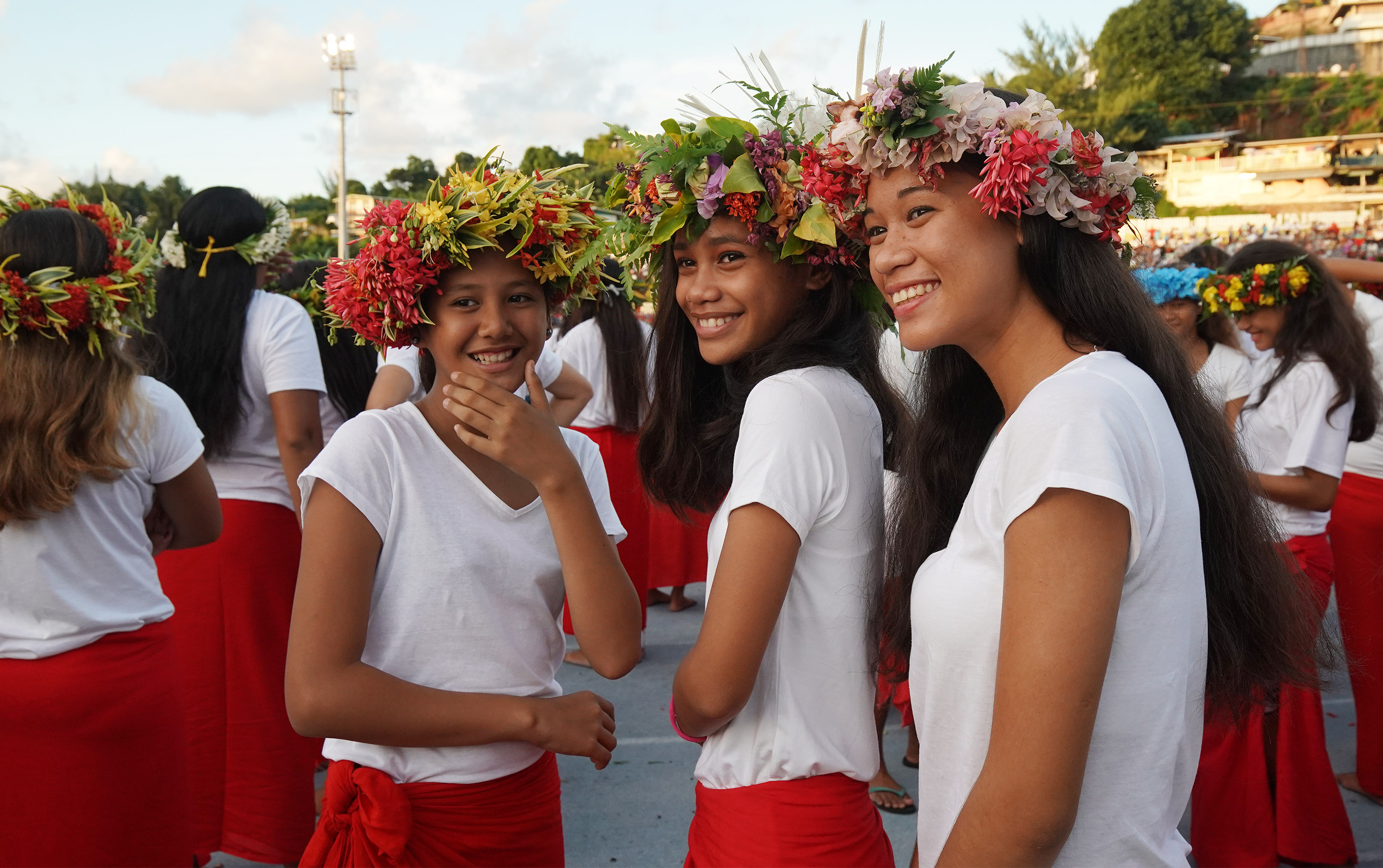 Performers wait to entertain during a Tahiti cultural program in Papeete, Tahiti, on May 24, 2019.