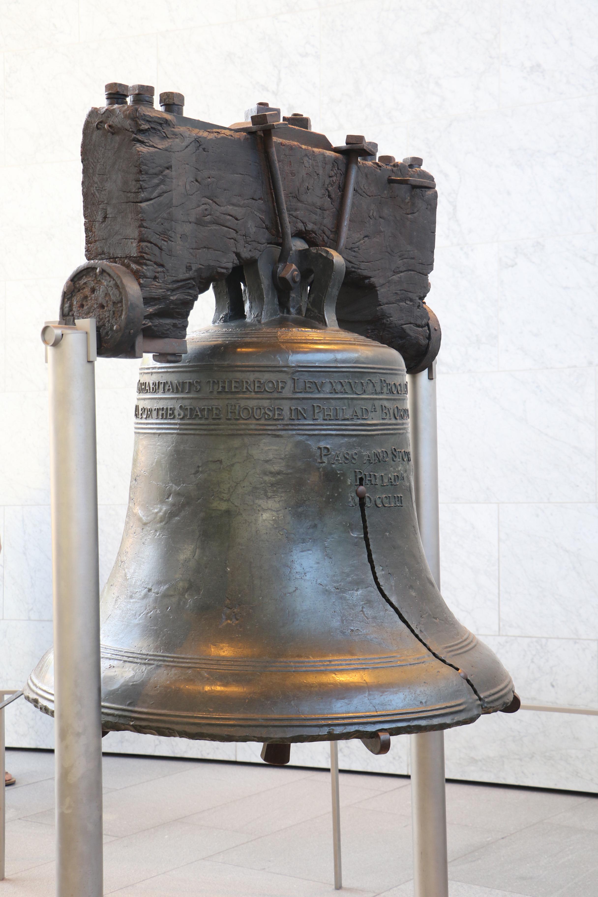 Liberty Bell on display in Philadelphia, Pennsylvania.