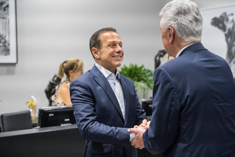 João Doria, the governor of Sao Paulo, greets Elder Dieter F. Uchtdorf of the Quorum of the Twelve Apostles on Feb. 19, 2019, at the Palacio dos Bandeirantes in Sao Paulo, Brazil.