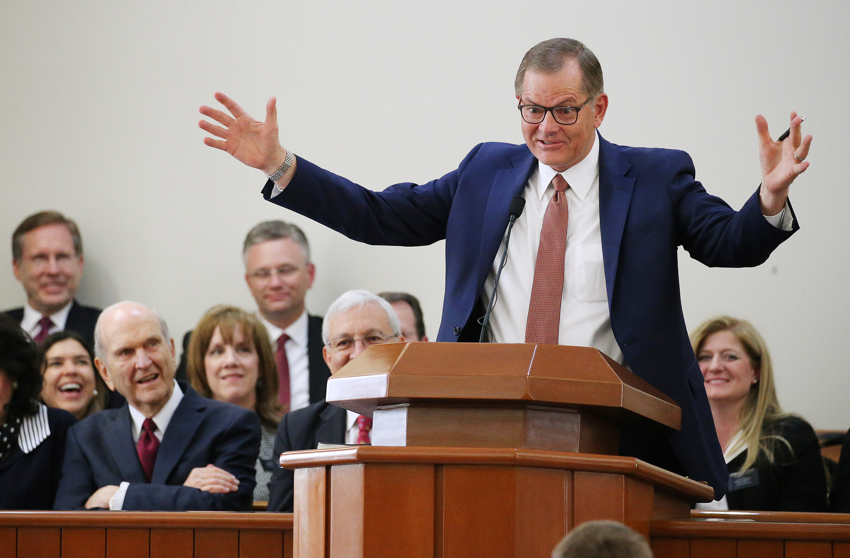 Elder Gary E. Stevenson of the Quorum of the Twelve Apostles of The Church of Jesus Christ of Latter-day Saints speaks during a missionary meeting in Lima, Peru, on Oct. 20, 2018.