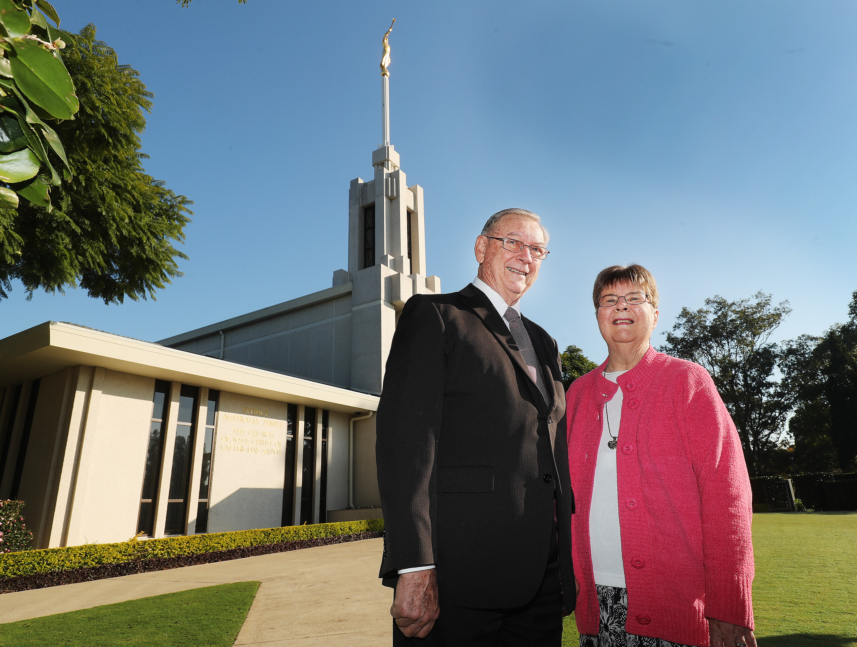 Paul and Diane Parton stand near the Sydney Australia Temple on May 18, 2019, in Sydney, Australia.
