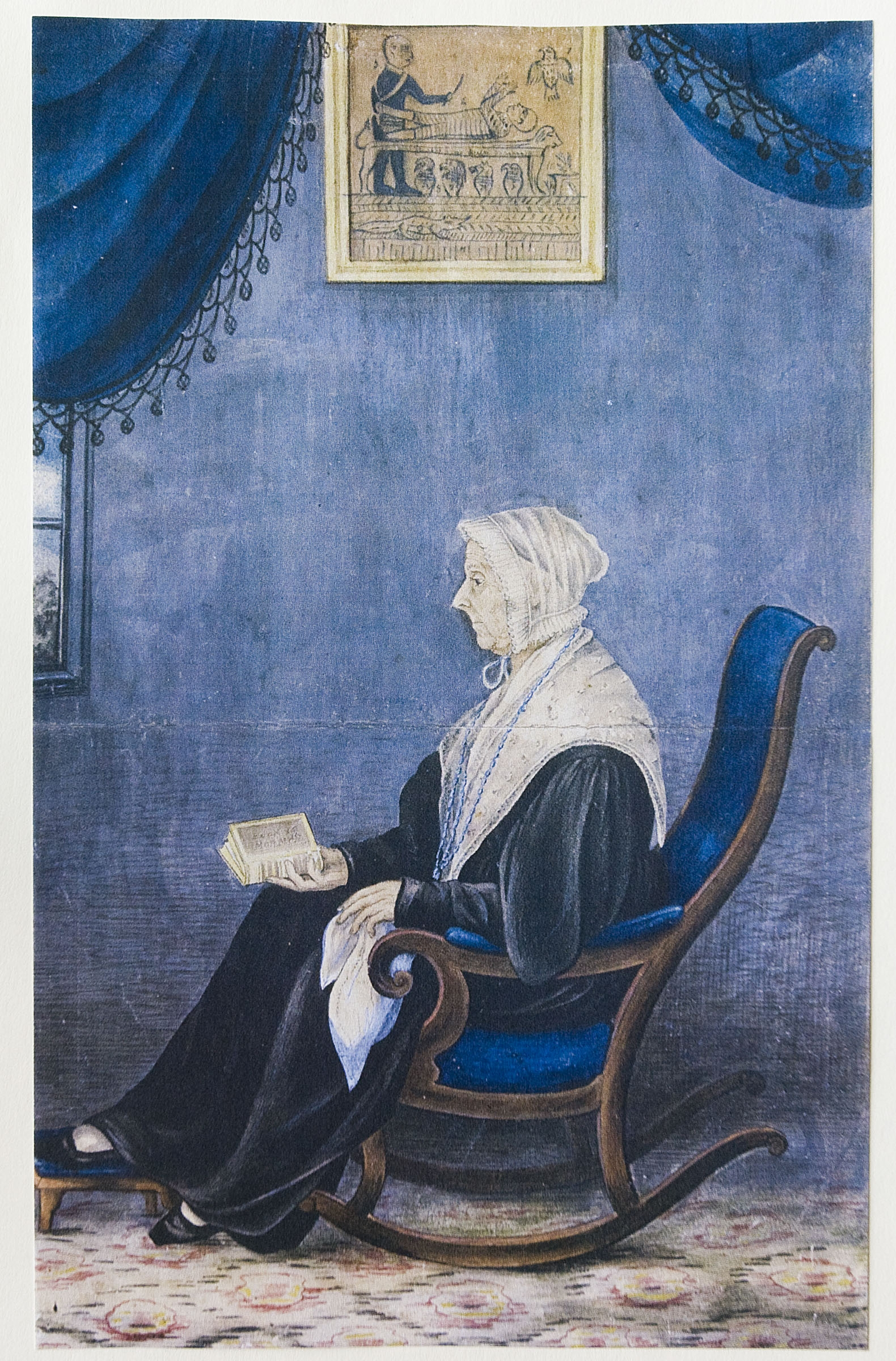A painting of Lucy Mack Smith by Sutcliffe Maudsley was on display at the Church History Library for an exhibit featuring artifacts and documents from Relief Society History in the days leading up to and during general conference in September and October 2001.