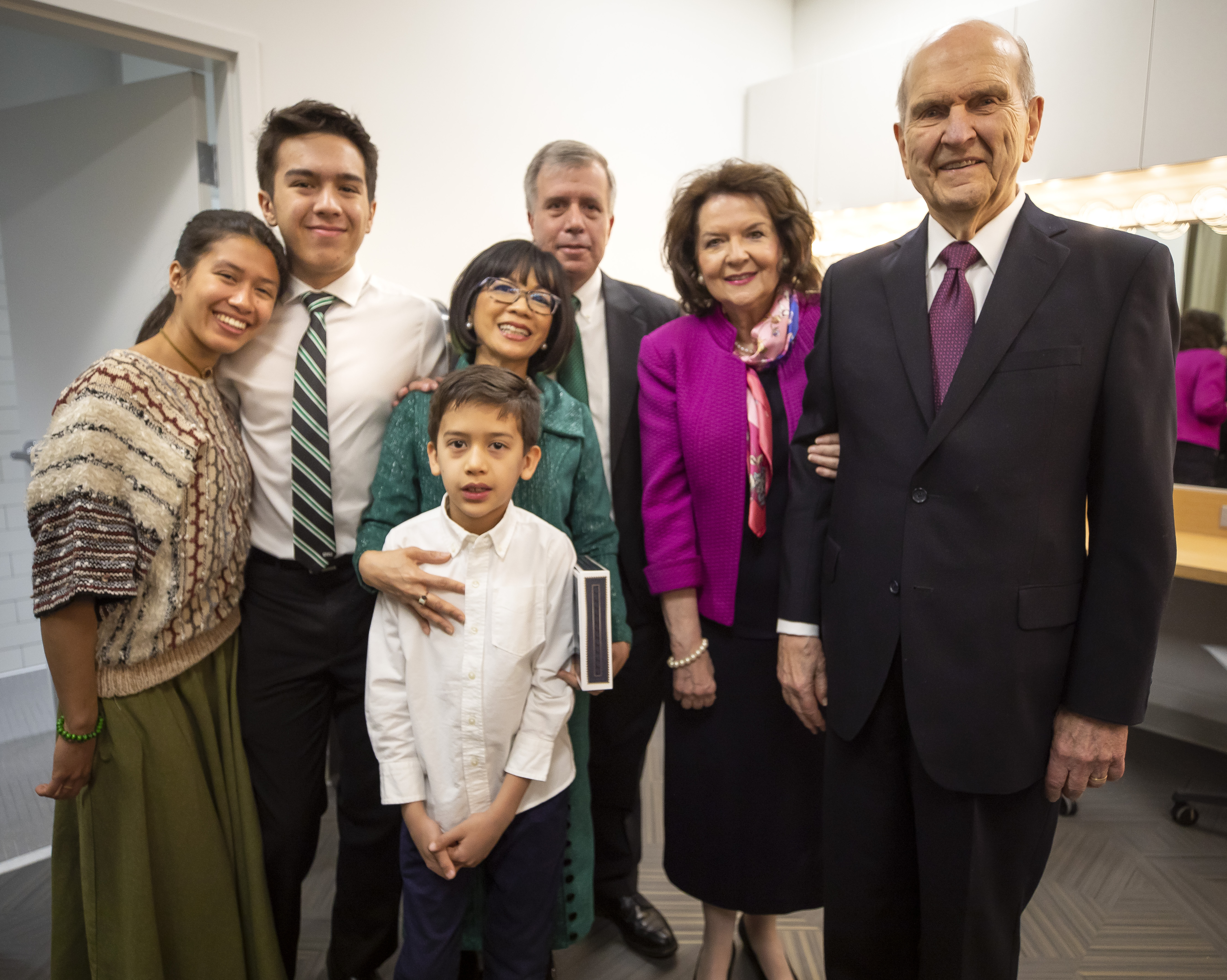 President Russell M. Nelson and Sister Wendy W. Nelson meet with UVU President Astrid Tuminez and her family following the Presidential Inauguration in the Concert Hall of the Noorda Center for the Performing Arts, on the Campus of Utah Valley University in Orem, Utah Wednesday, March 27, 2019. From left, daughter Michal Francis Tuminez Tolk, Whitman David Tuminez Tolk, Leo Emerson Tuminez Tolk, President Astrid Tuminez, Jeffrey Tolk, Sister Wendy W. Nelson and President Russell M. Nelson.