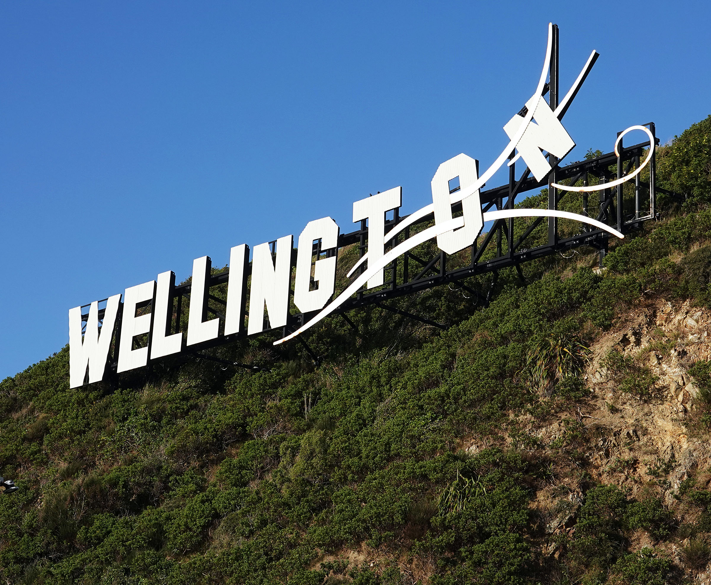 A sign welcomes visitors to Wellington, New Zealand, on Sunday, May 19, 2019.