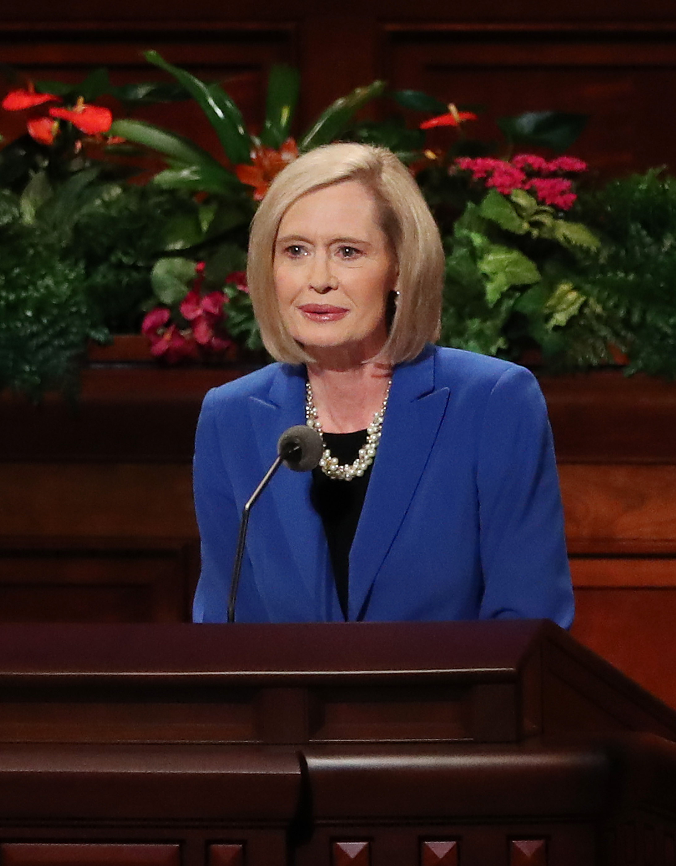 Sister Bonnie H. Cordon, General Young Women President, speaks during the 188th Semiannual General Conference of The Church of Jesus Christ of Latter-day Saints in Salt Lake City on Sunday, Oct. 7, 2018.