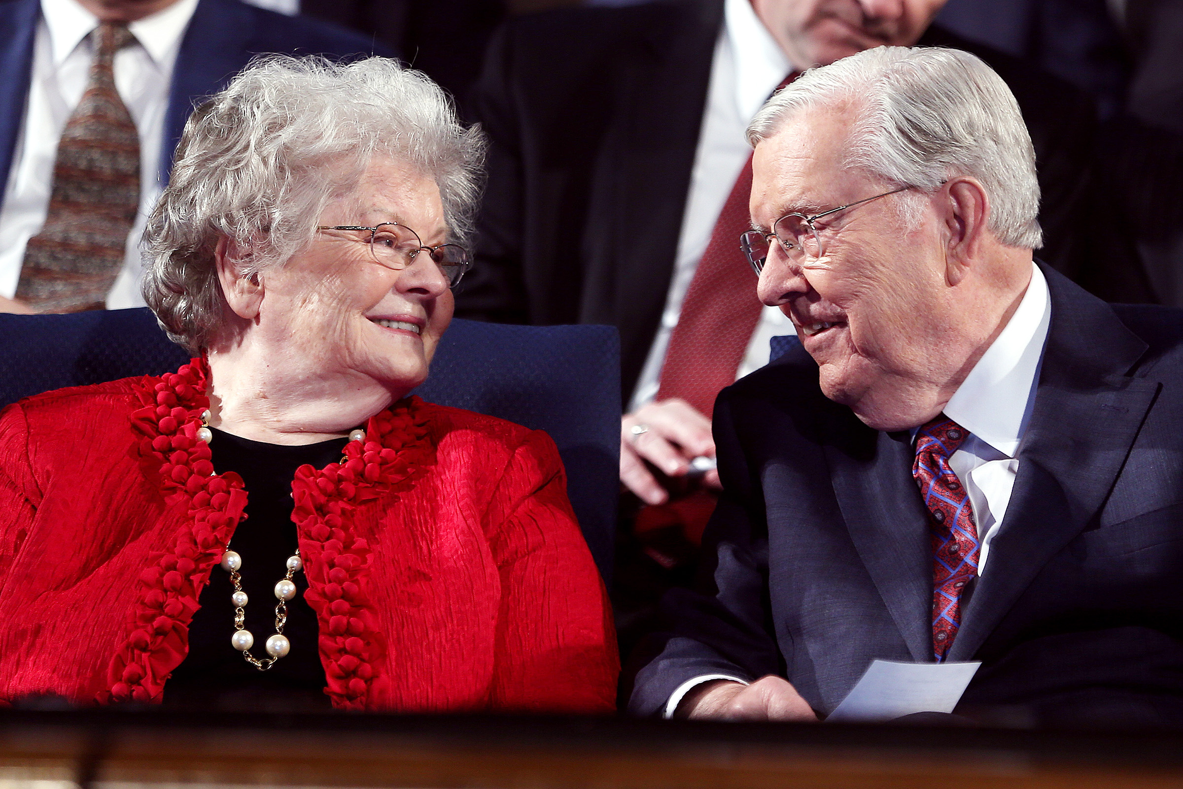 Elder M. Russell Ballard of the Quorum of the Twelve Apostles of The Church of Jesus Christ of Latter-day Saints and his wife Barbara smile at each other prior to Elder Ballard speaking to Brigham Young University students during a campus devotional held in the Marriott Center in Provo on Tuesday, Nov. 14, 2017.