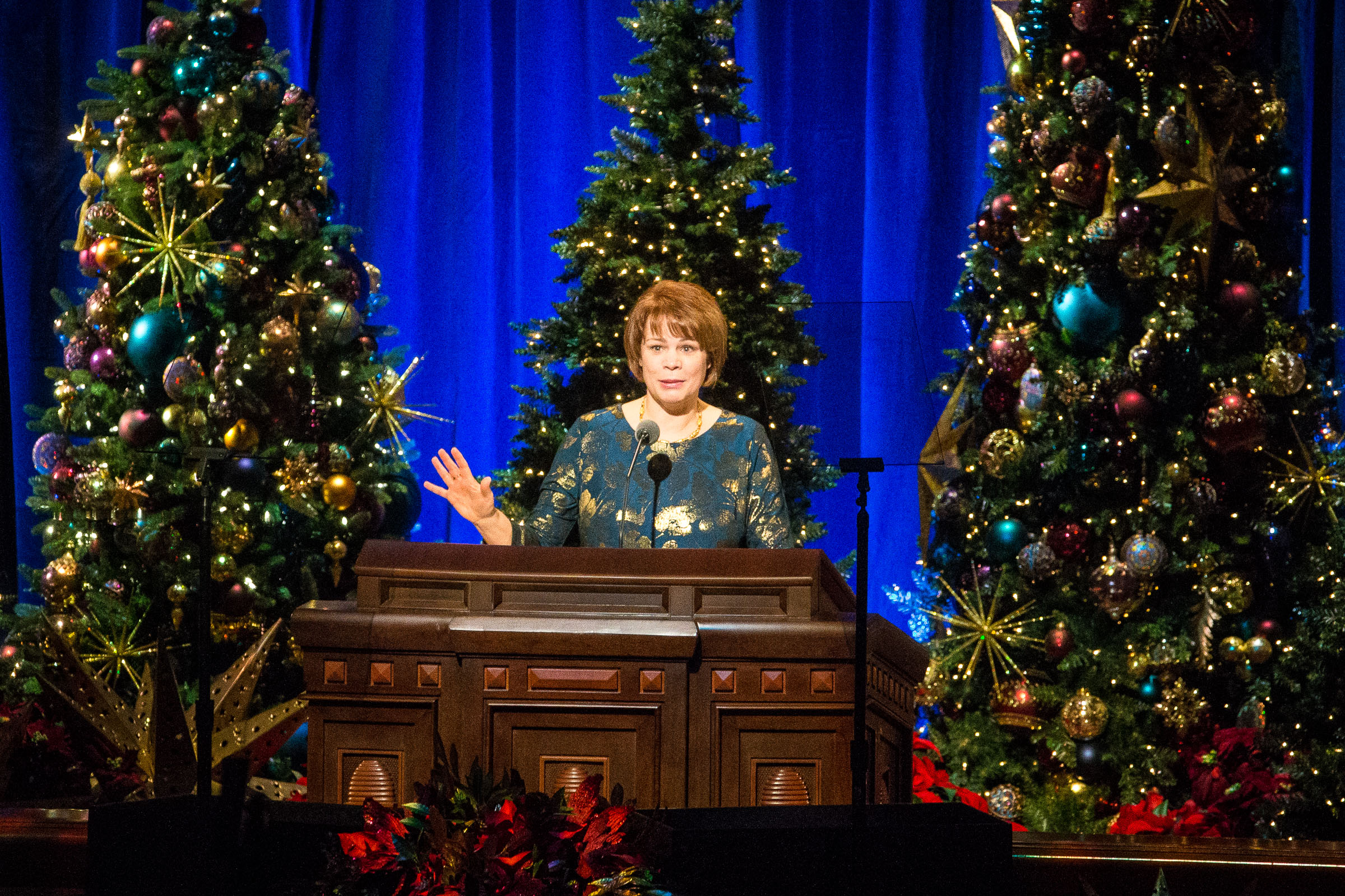 Sister Sharon Eubank, first counselor in Relief Society general presidency, speaks at the First Presidency's Christmas Devotional in the Conference Center in Salt Lake City on Sunday, Dec. 2, 2018.