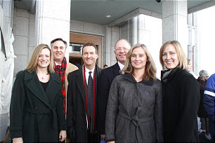 Among those who sang in Calgary Alberta Temple dedication choirs are, from left, Tiffany and Bruce Nysetvold, Grant Clayton, Doug Sullivan, Joanne Dickson and Barbara Smith.