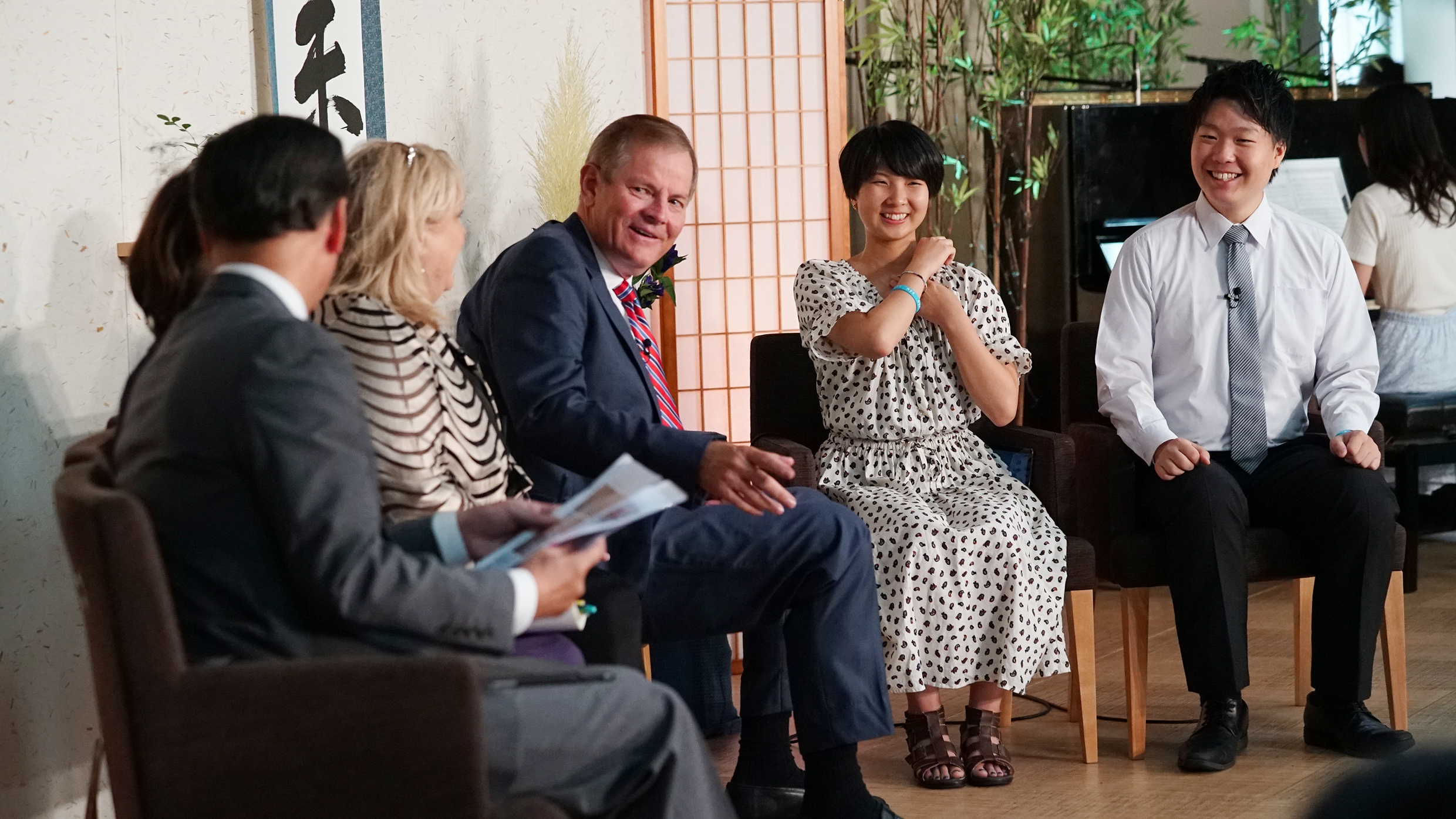 From left, Elder Kazuhiko Yamashita, General Authority Seventy, and his wife, Sister Tazuko Yamashita; Sister Lesa Stevenson and Elder Gary E. Stevenson, of the Quorum of the Twelve Apostles; and the two youth hosts, Miyu Nakiatania and Mashahiro Yoshikawa, during the Face to Face event held in Japan on Aug. 14.